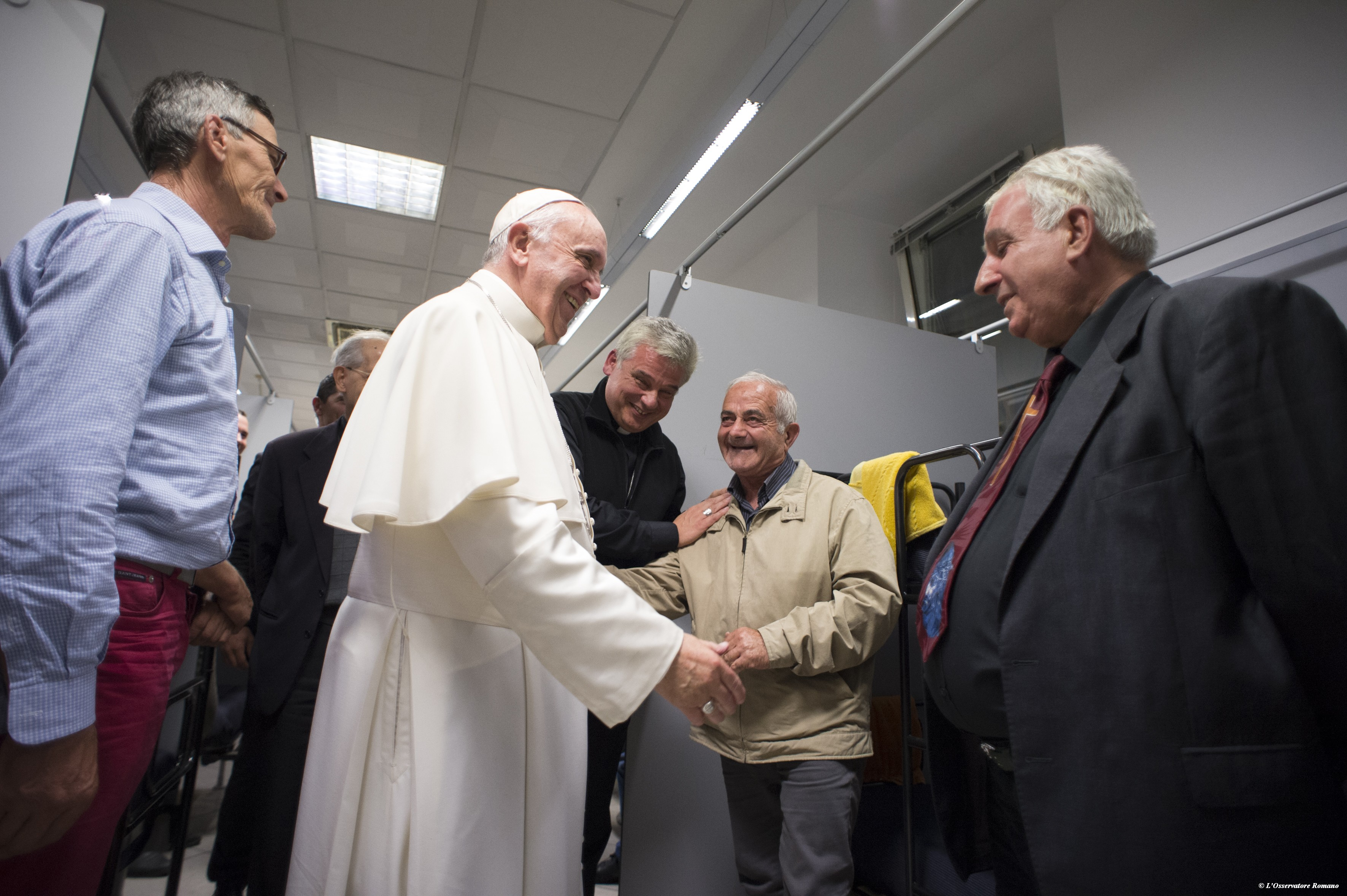 Pope Francis visited the new dormitory for the homeless on Thursday evening