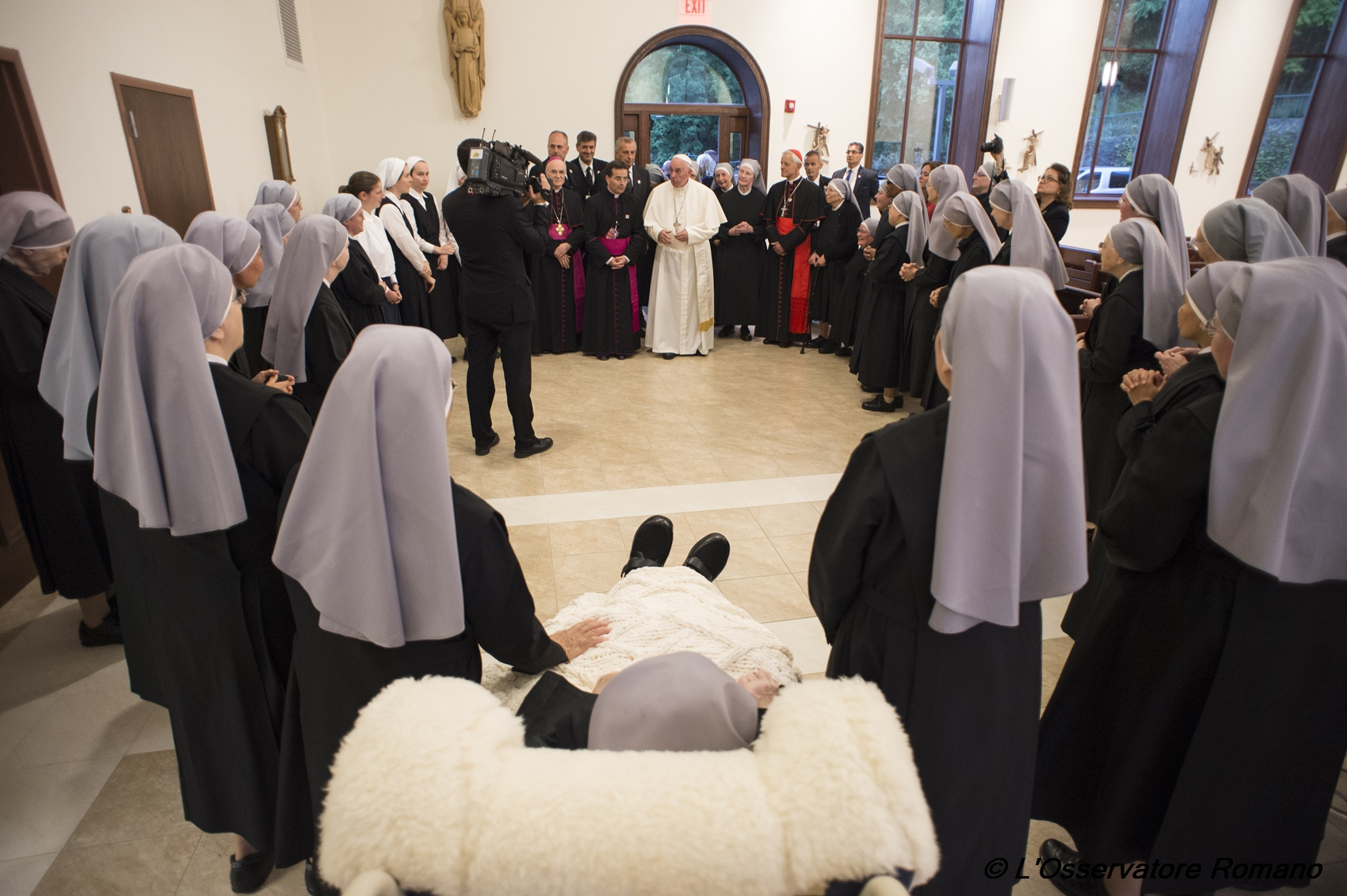 Pope Francis during his surprise visit to the Little Sisters of the Poor in Washington