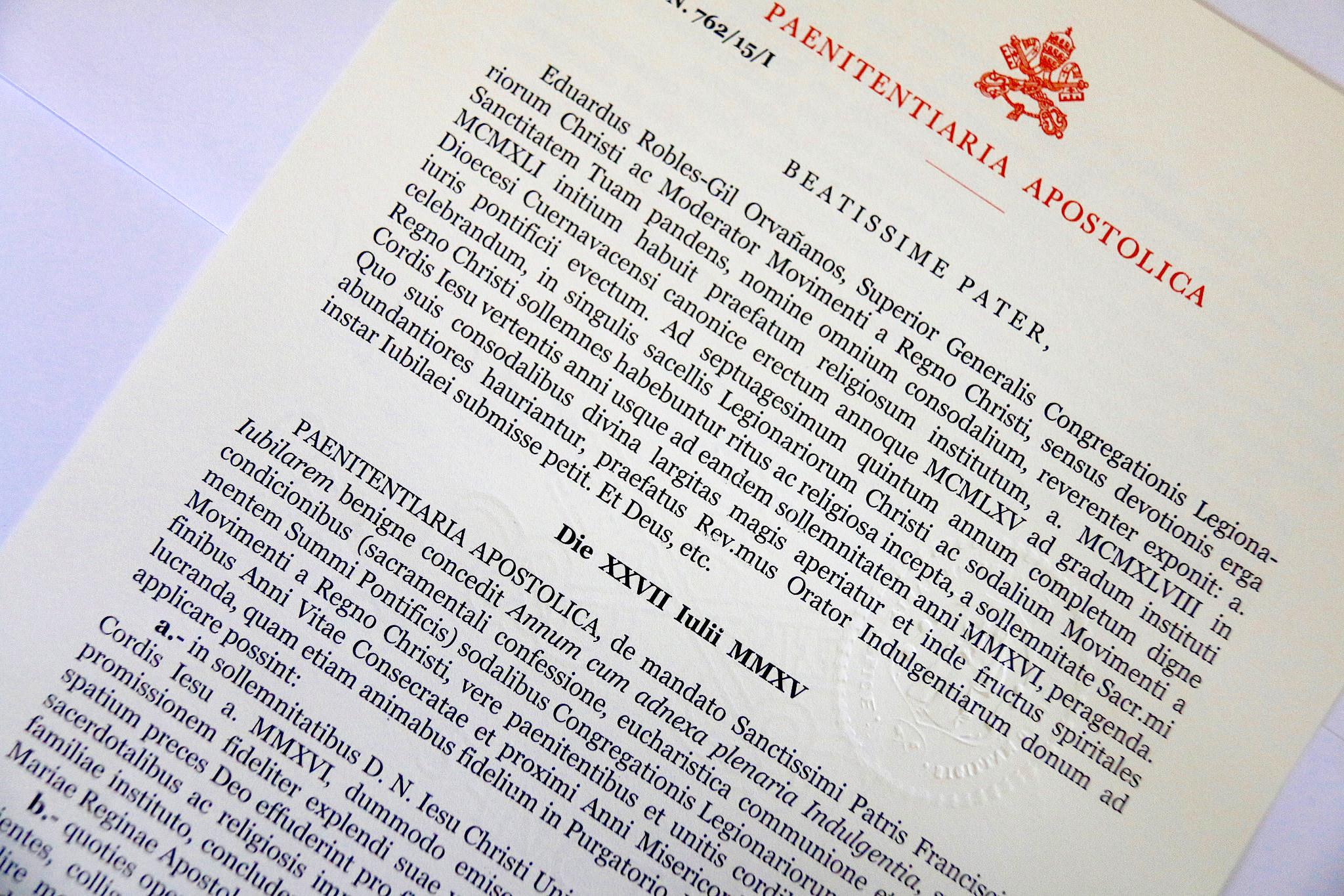 Indulgenze Plenarie Calendario.Il Papa Concede L Indulgenza Plenaria Ai Legionari Di Cristo