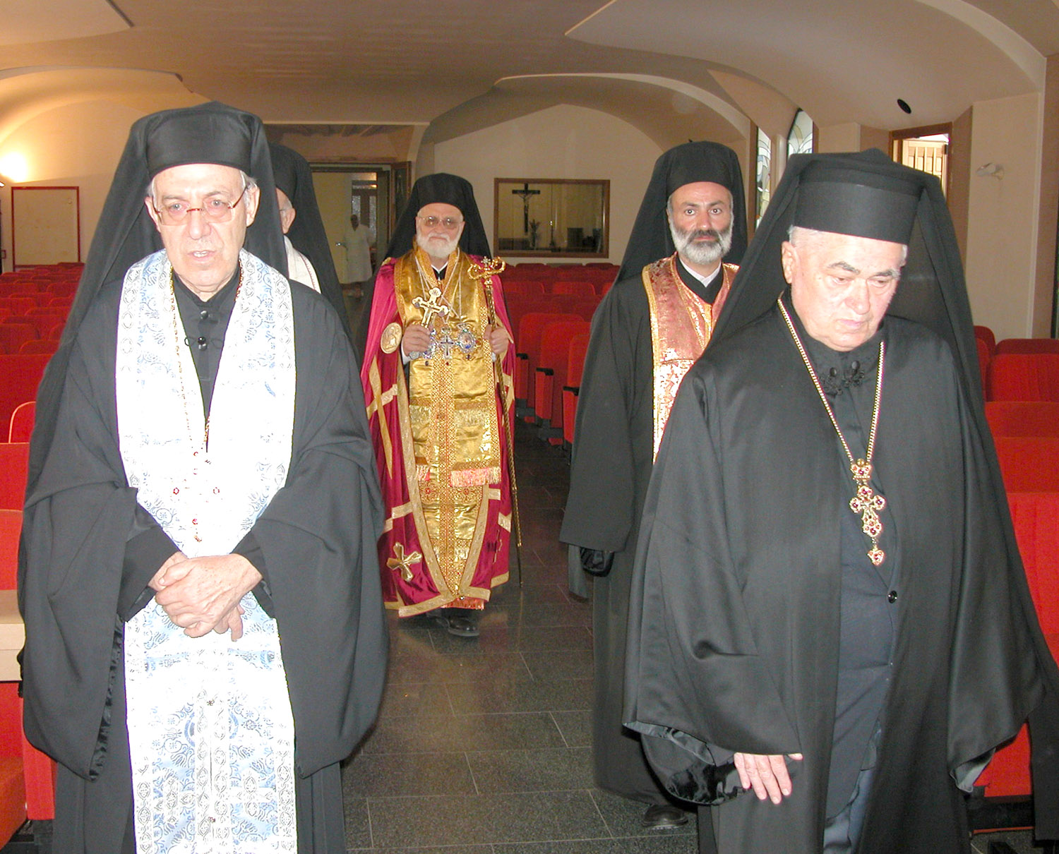 Melkite Patriarch Gregory III with some Archimadrites