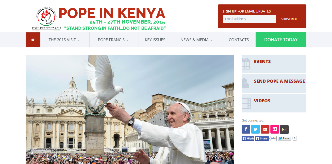 "Screenshot site ""Pope in Kenya"""
