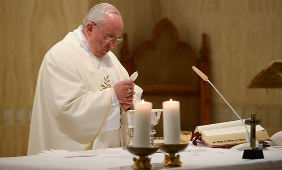 Pope Francis celebrating Mass at Casa Santa Marta