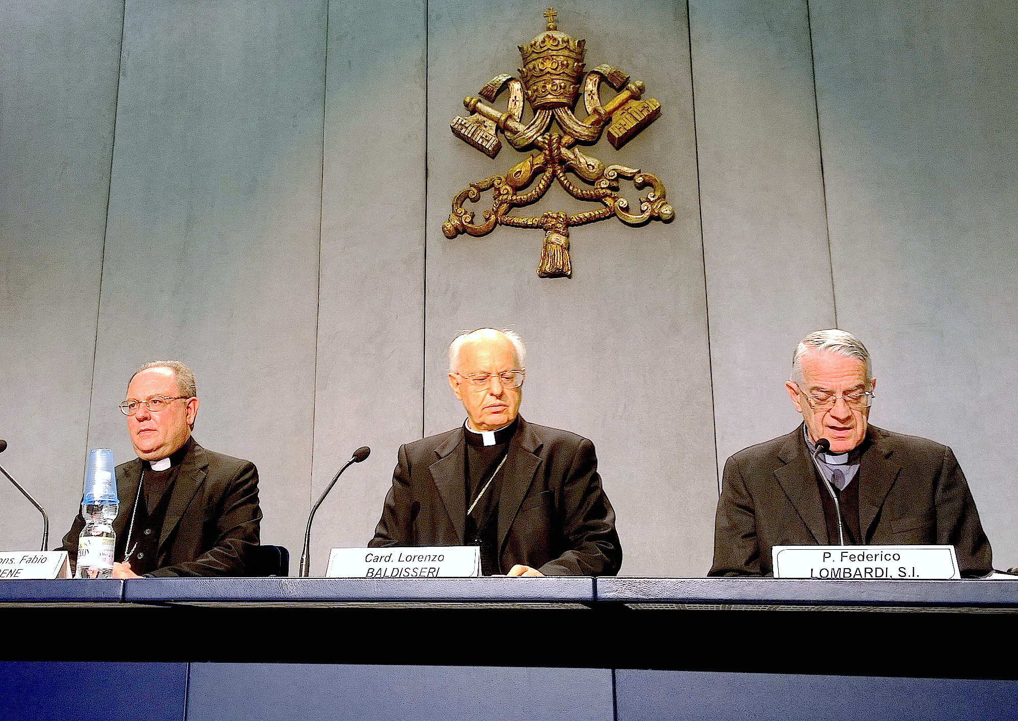 Cardinal Baldisseri in the pressroom during the presentation of the Ordinari Synod of the Family. 2 October 2015