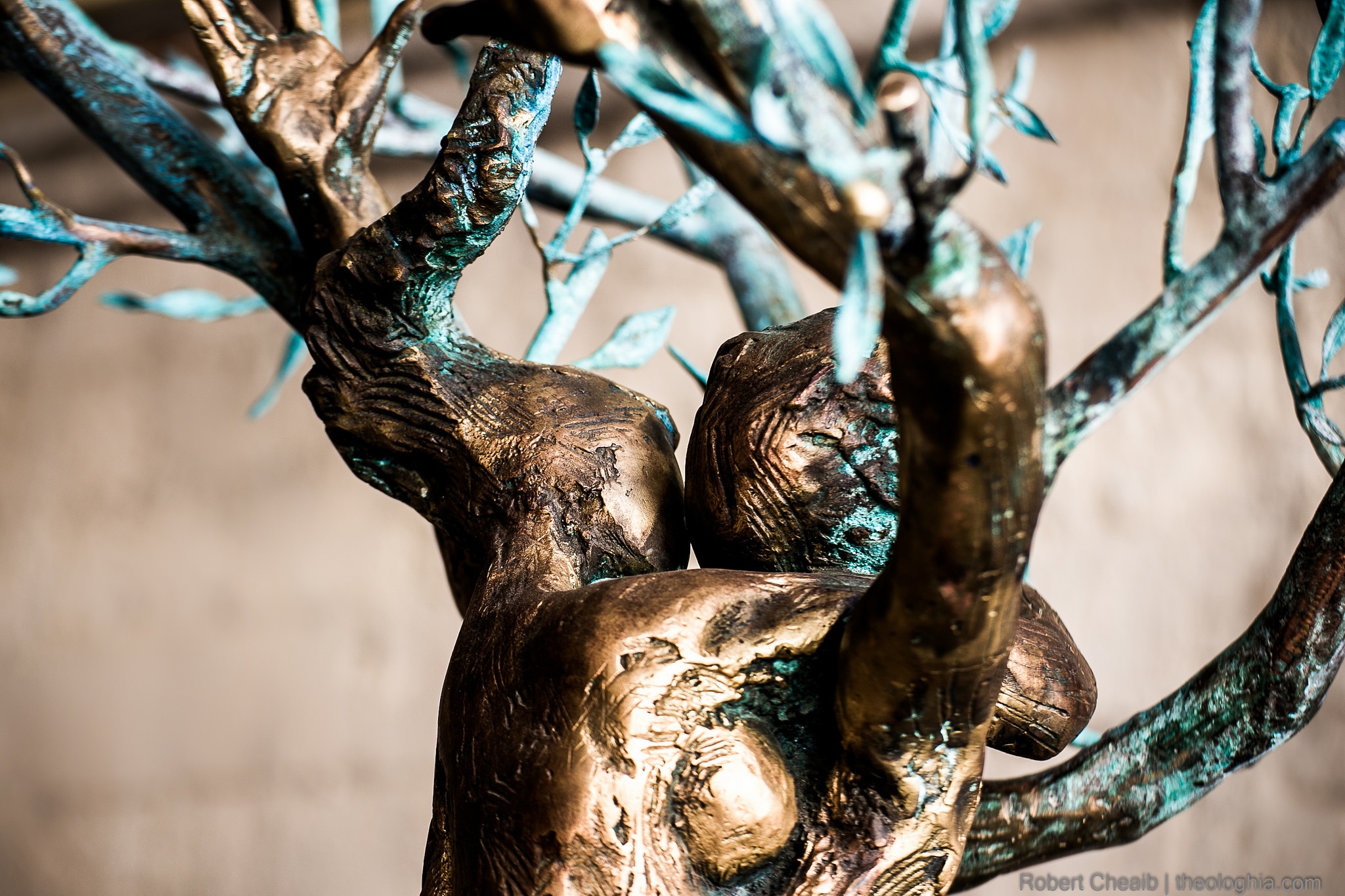 Love Embrace - Theology of the body - Bronze statue indicating two lovers embrace and the fruitful branches of love