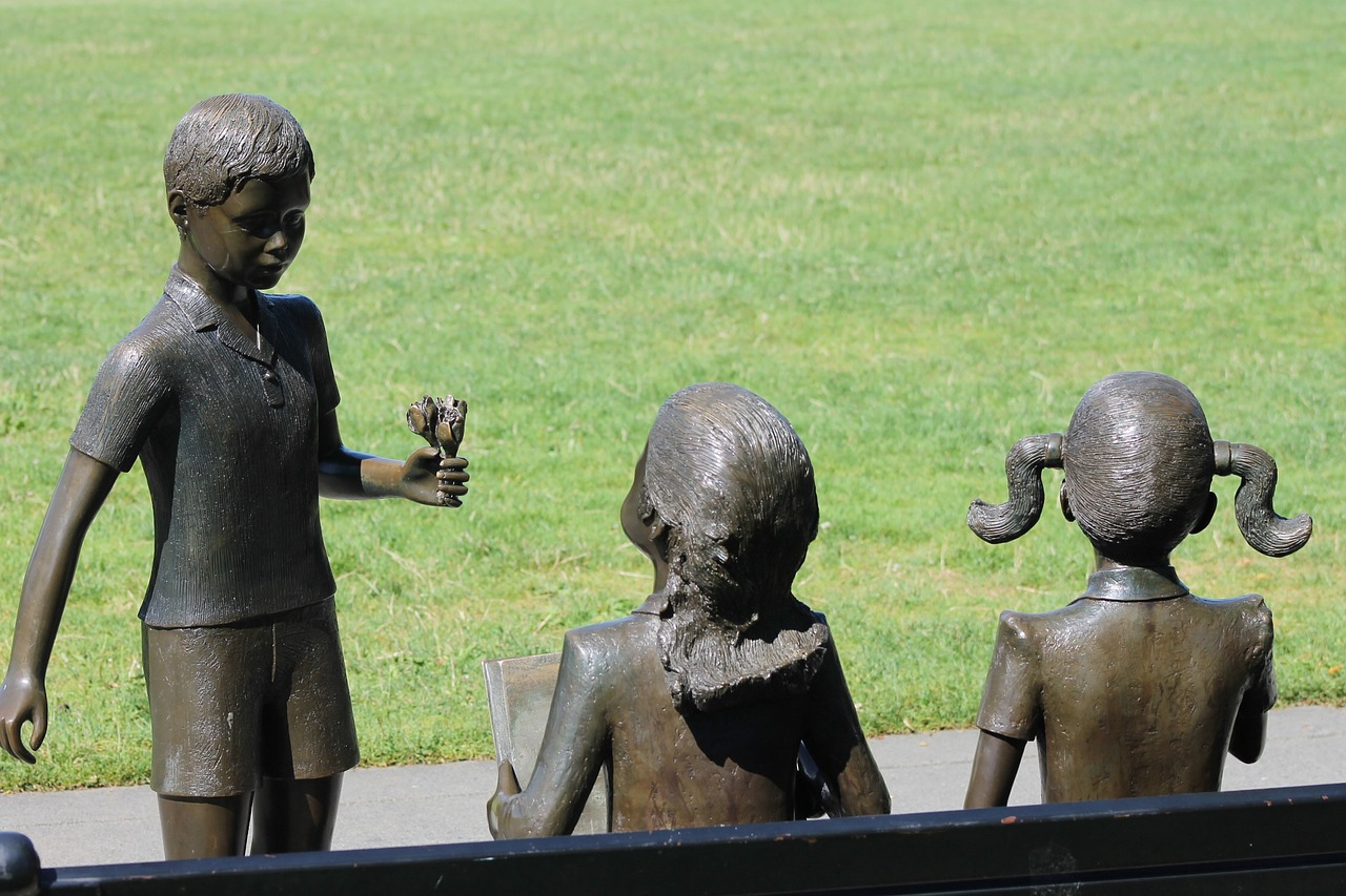 Statue in a park representing kids