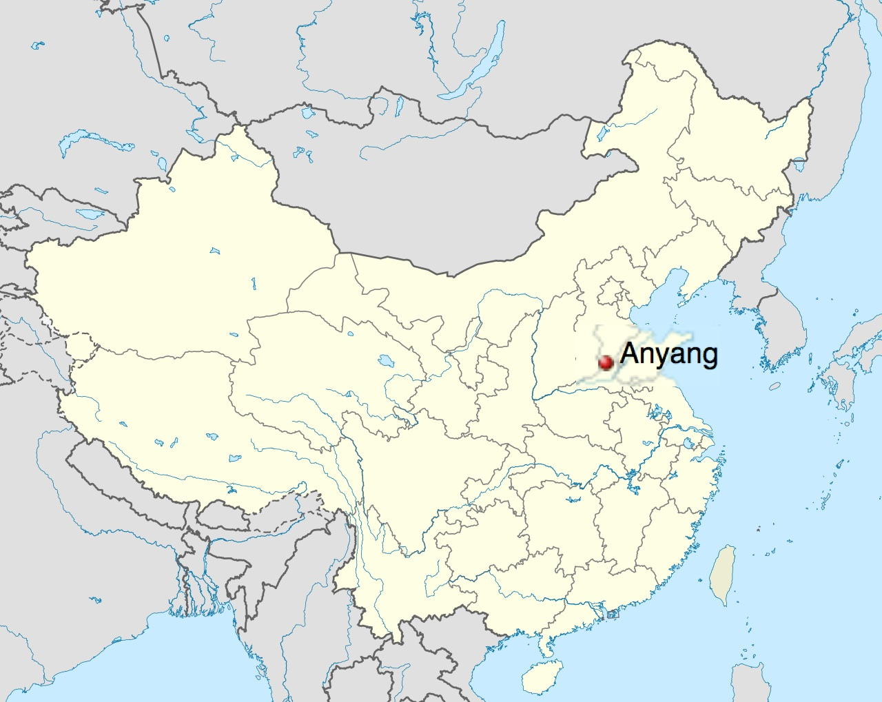 Map of China - Anyang