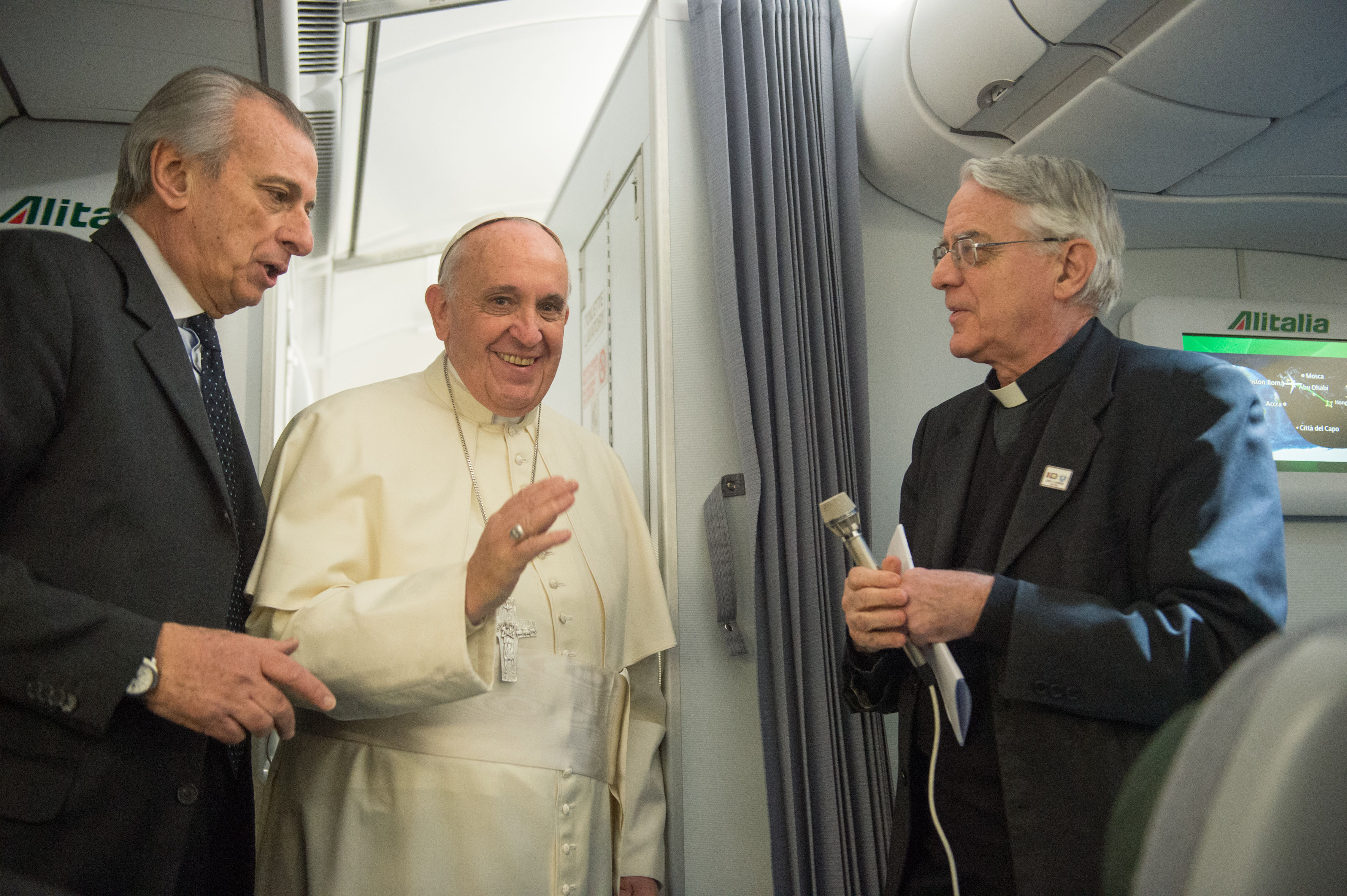 Pope Francis in airplane (archive)