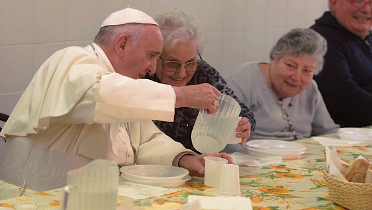 Pope Francis with poors in Florence