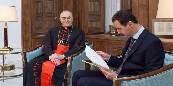 President Al-Assad and card. Zenari