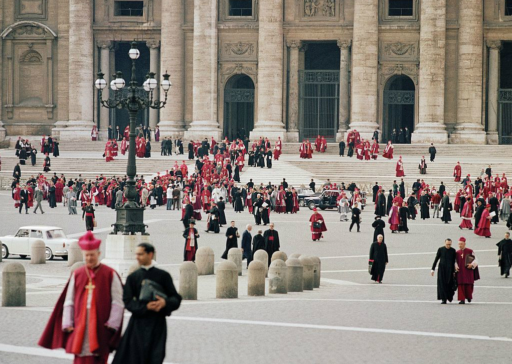 Bishops leave St. Peter's Basilica after a session of the Second Vatican Council.