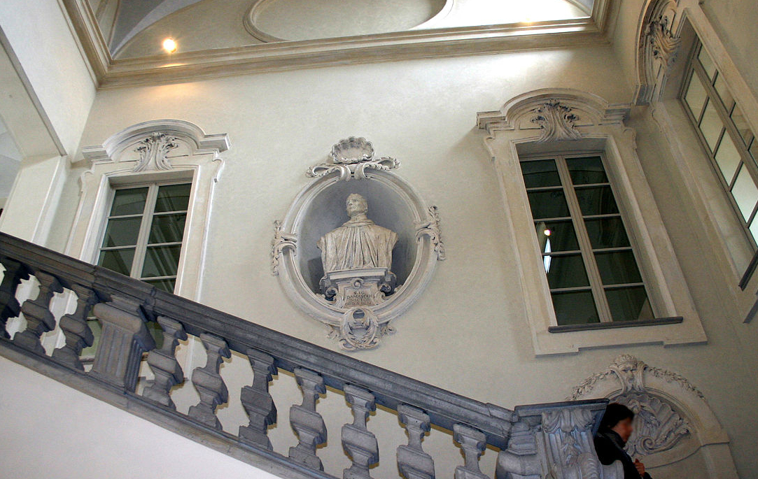 Bust of Saint John of Damascus decorating the staircase of the former convent of San Simpliciano monastery in Milan