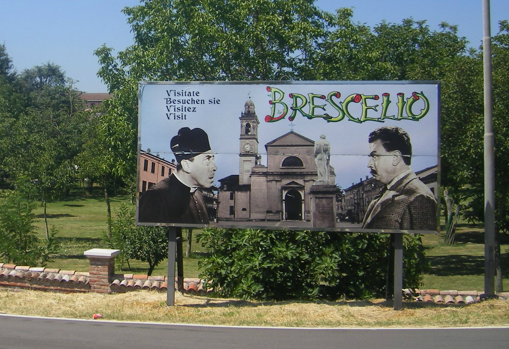 Billboard remembering the film series of Peppone and Don Camillo