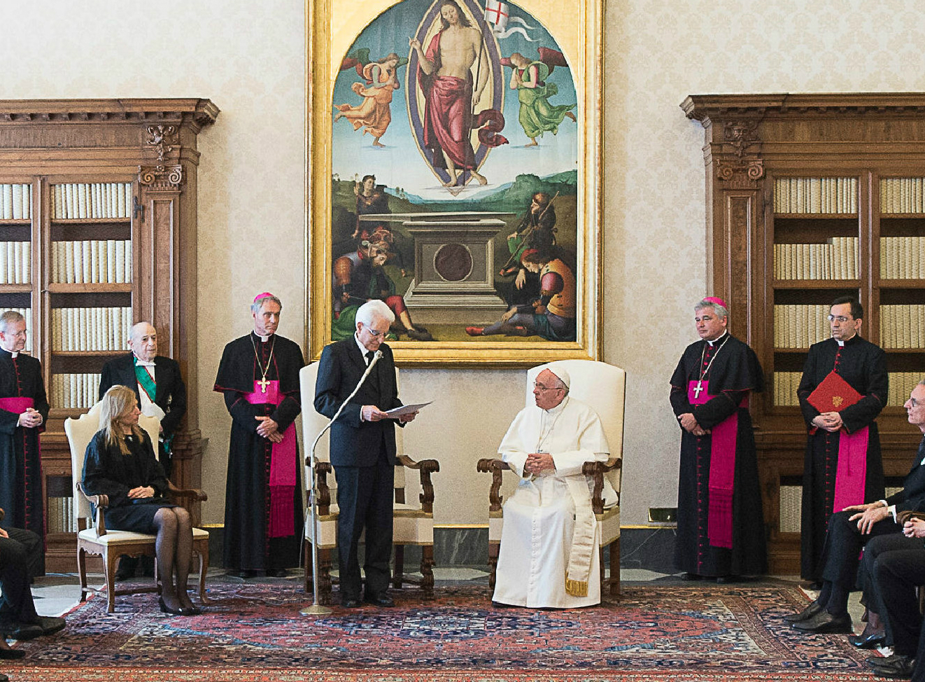 Pope Francis in audience receives the Italian President