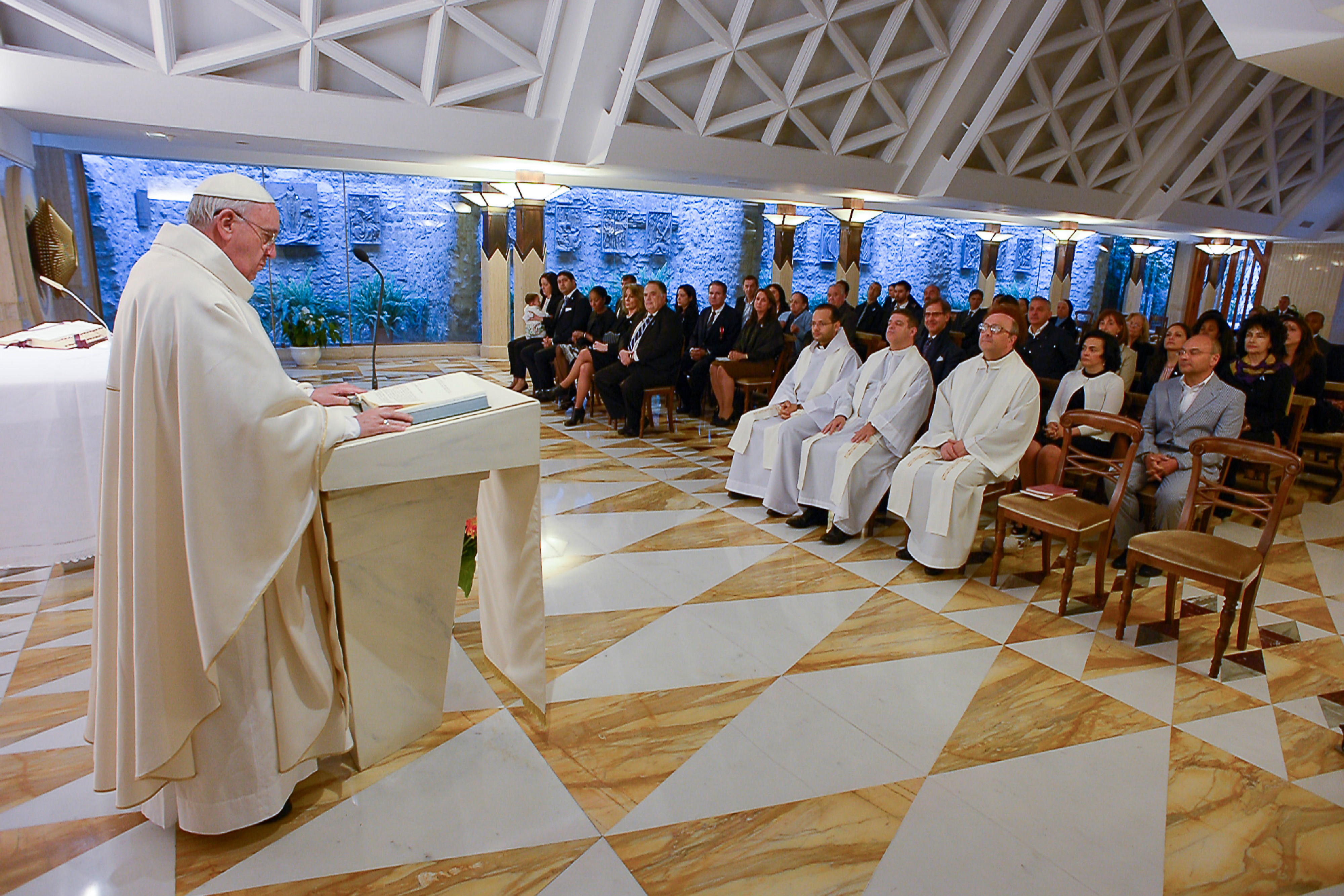 Pope Francis during Mass in Santa Marta on Monday 25th of May 2015