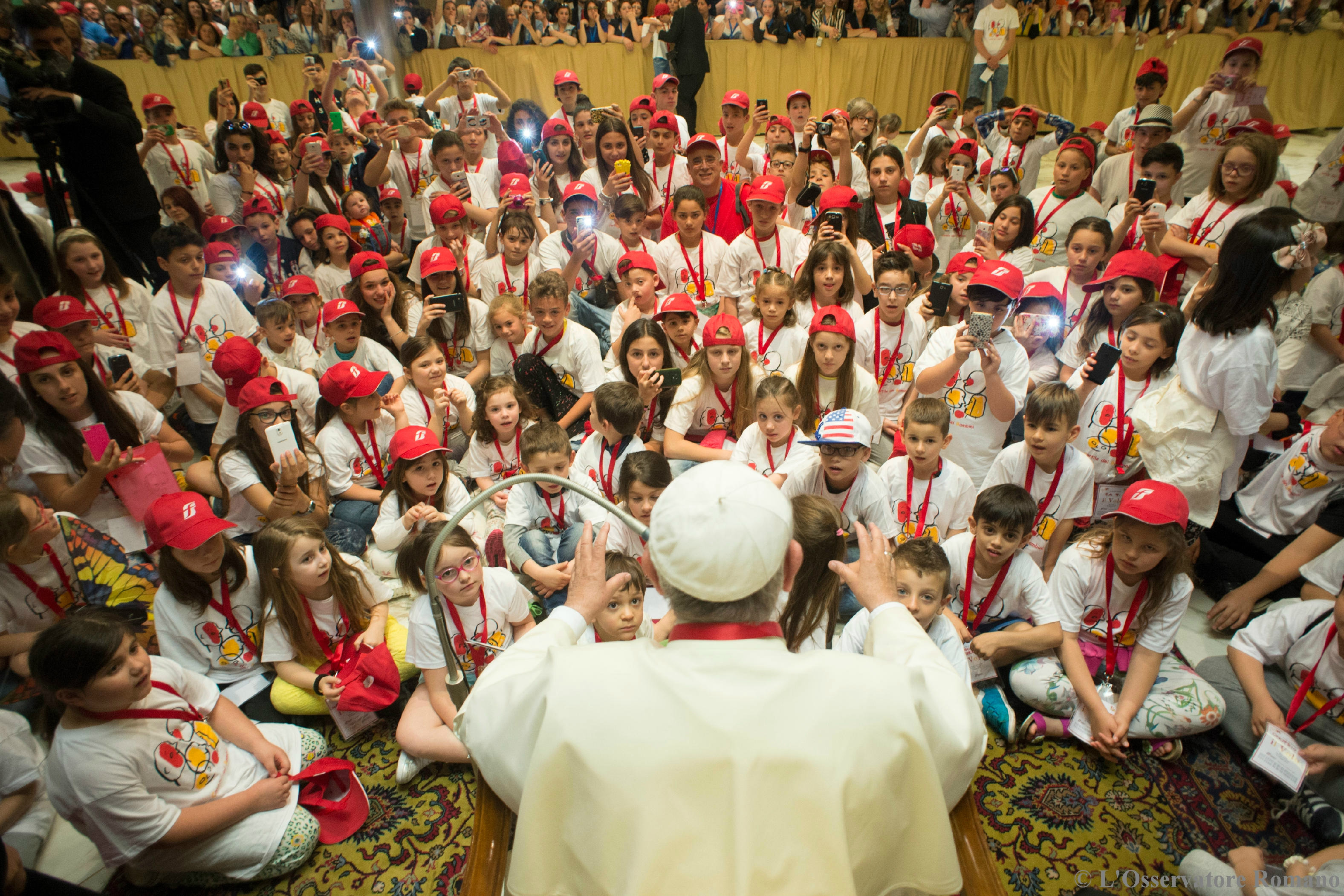Pope Francis receives the children from the Kids Train