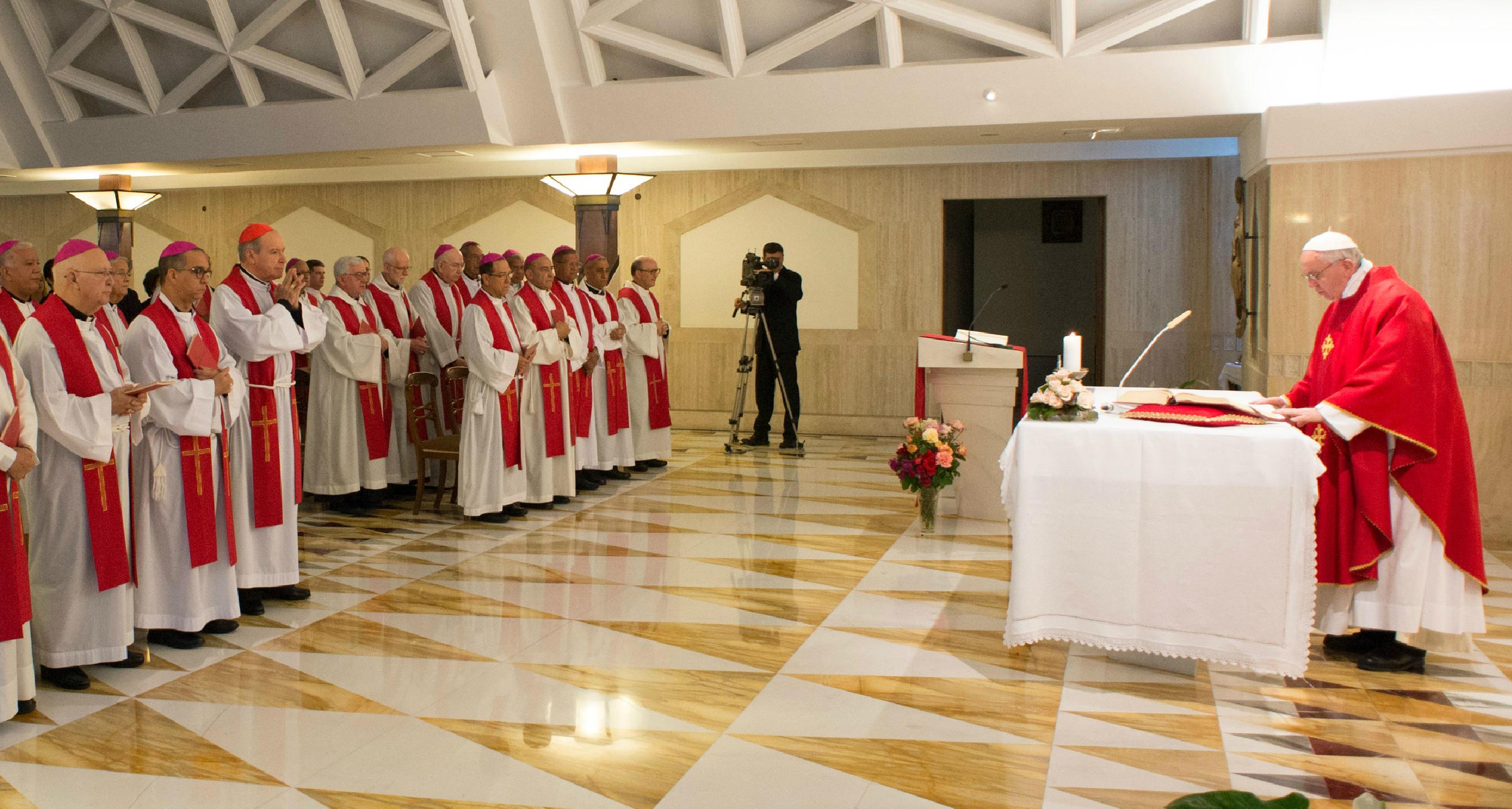 Pope Francis celebrating Mass in Santa Marta