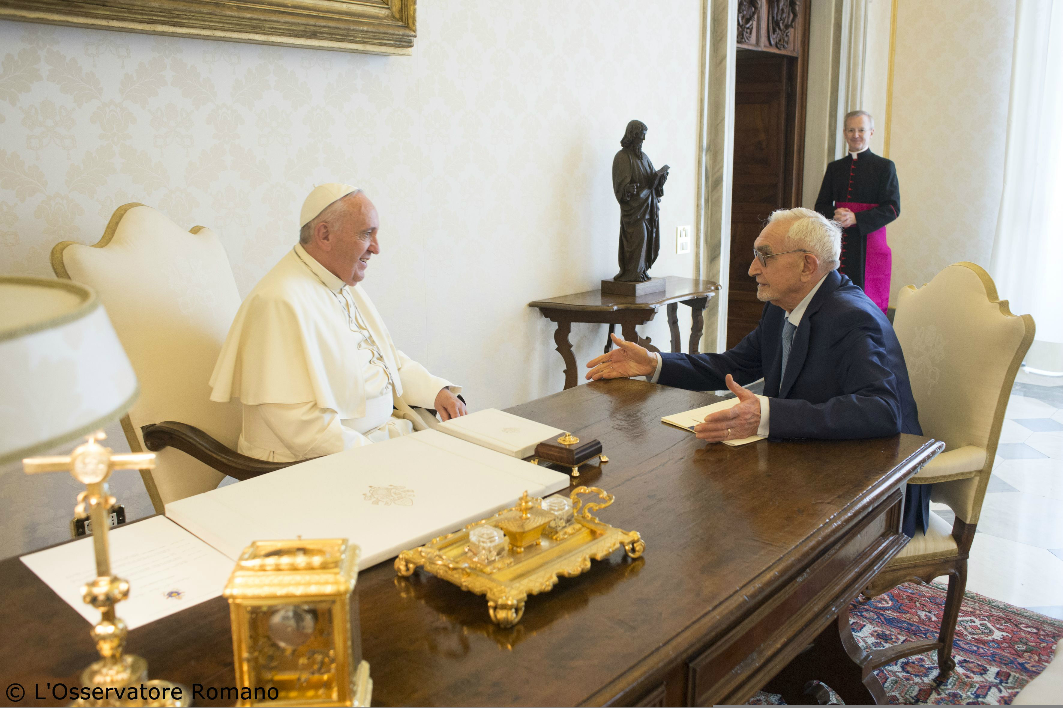 Pope Francis receives in audience Giuseppe Guzzetti