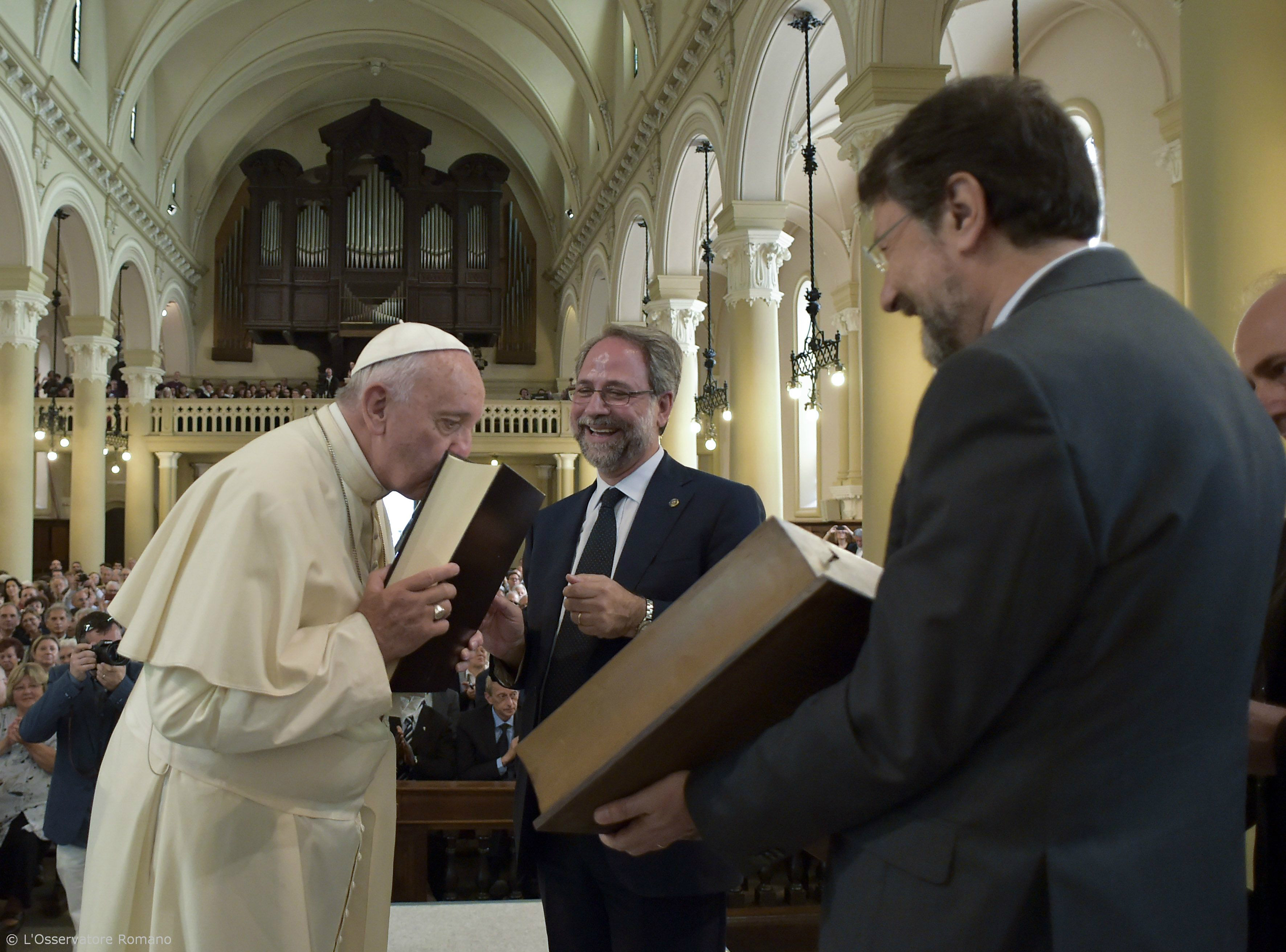 Pope Francis during his encounter with the Evangelical Valdese Church