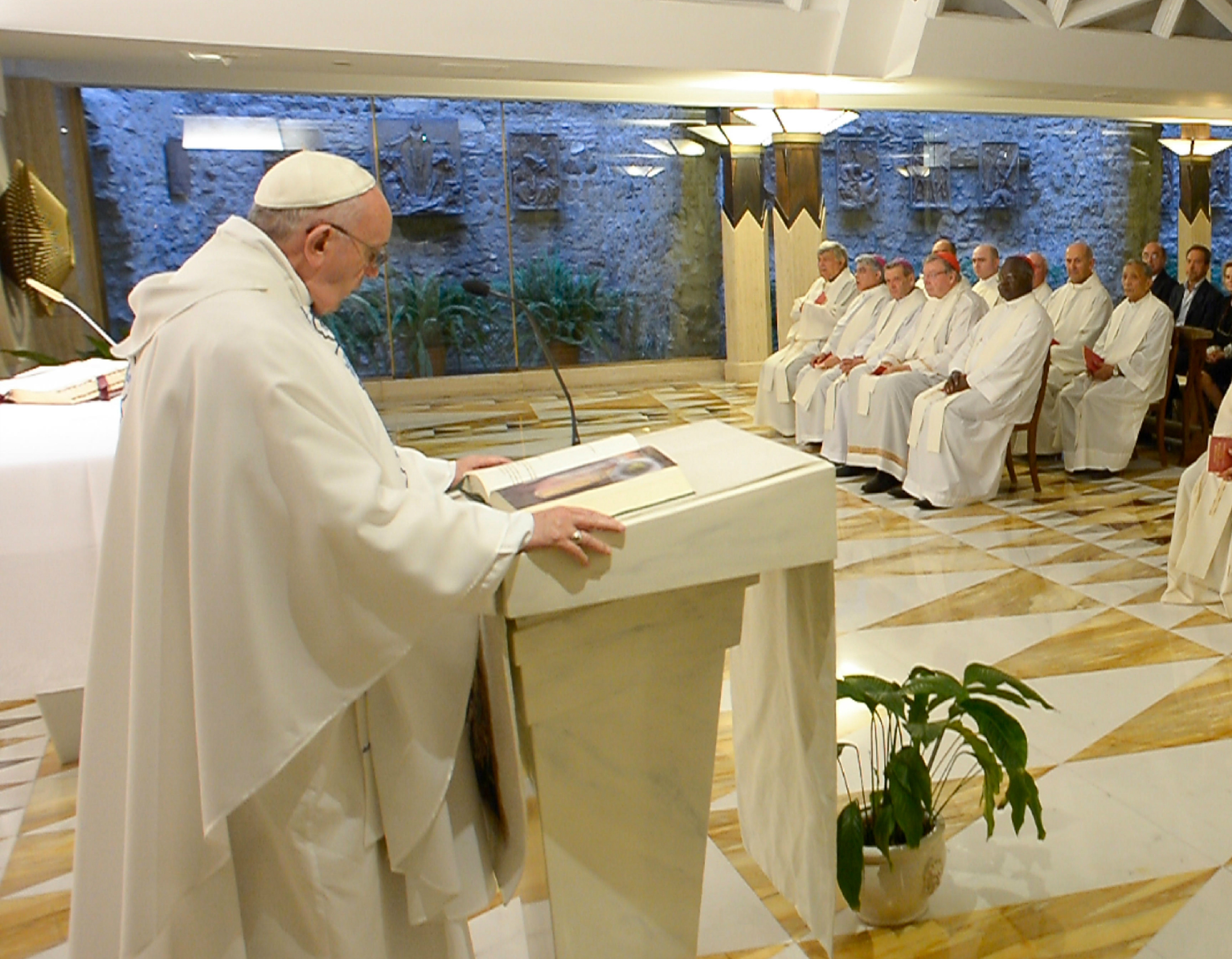 Pope Francis delivers his homily in Santa Marta
