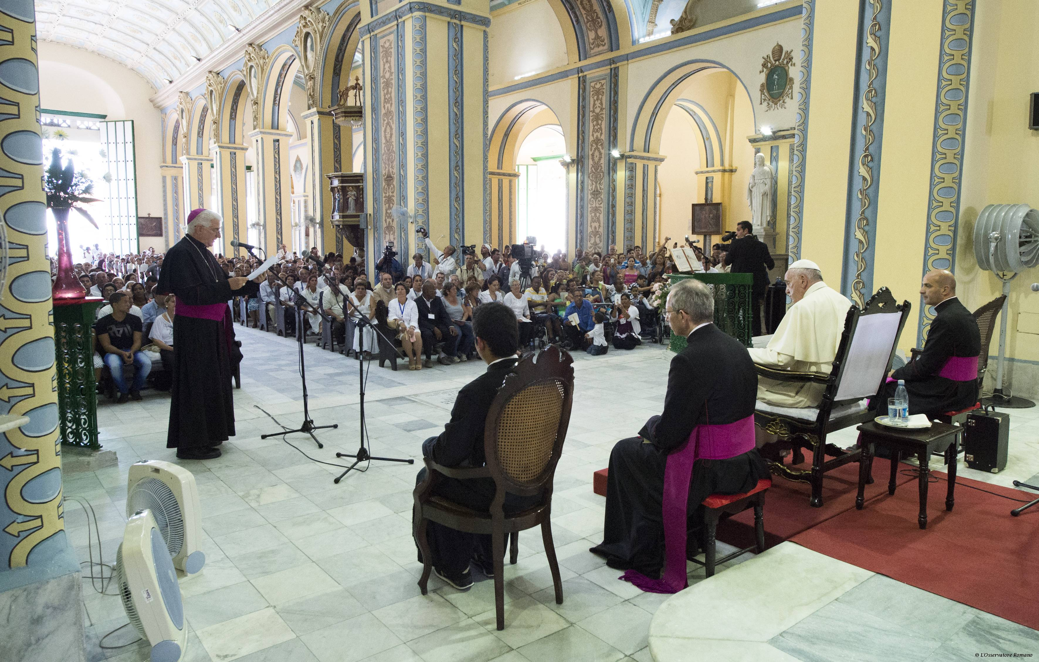 Pope Francis during the meeting with families in the cathedral of Santiago de Cuba