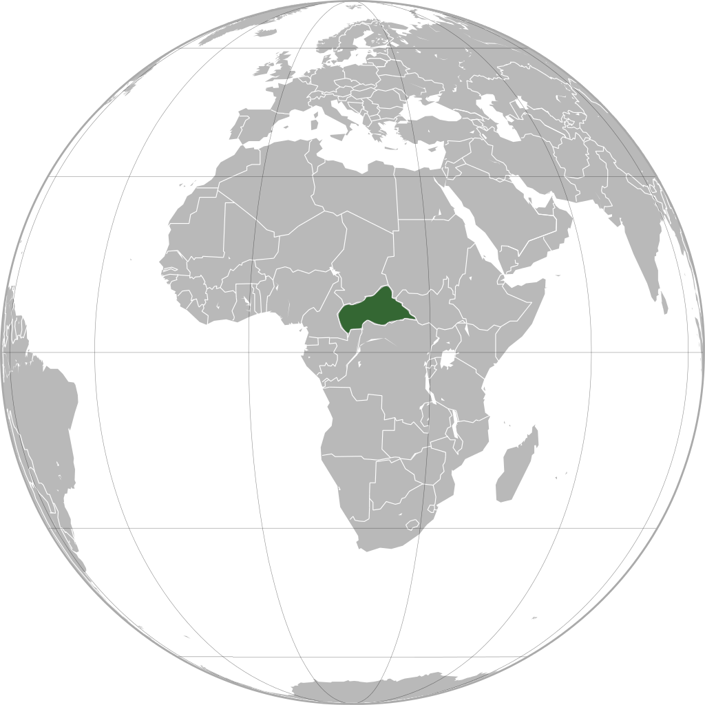Central African Republic (green / orthographic projection)