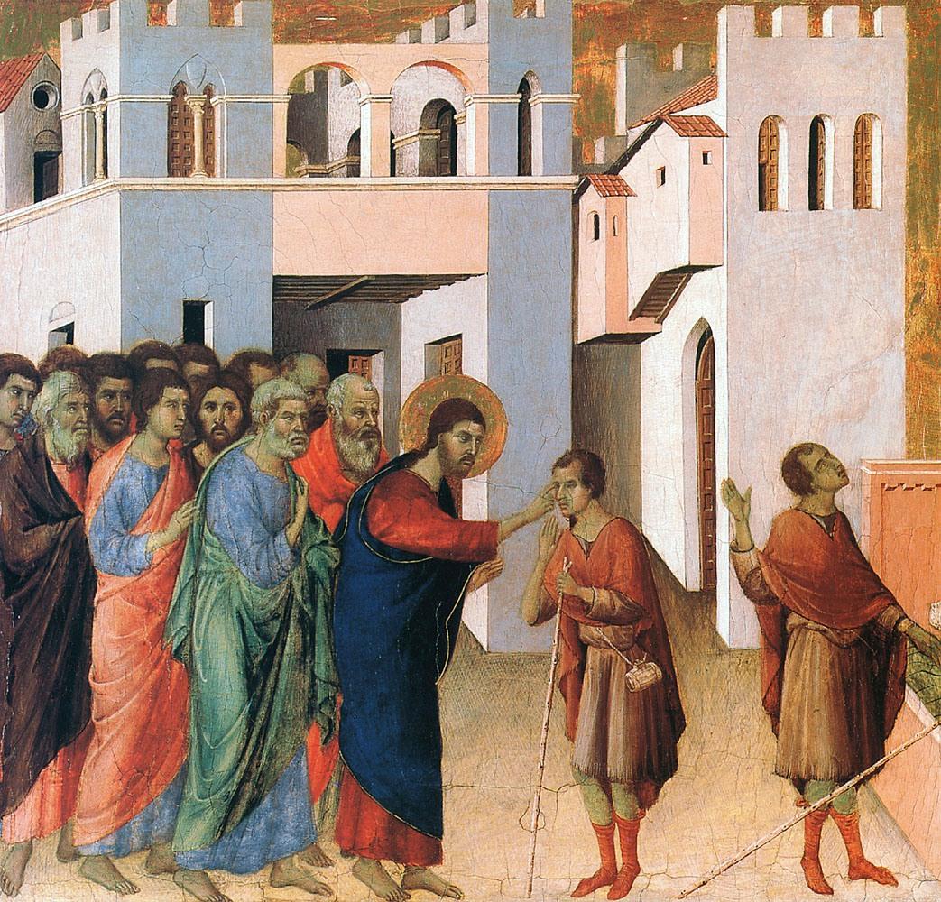 Jesus Heals The Blind Man by Duccio di Buoninsegna (1260-1318)