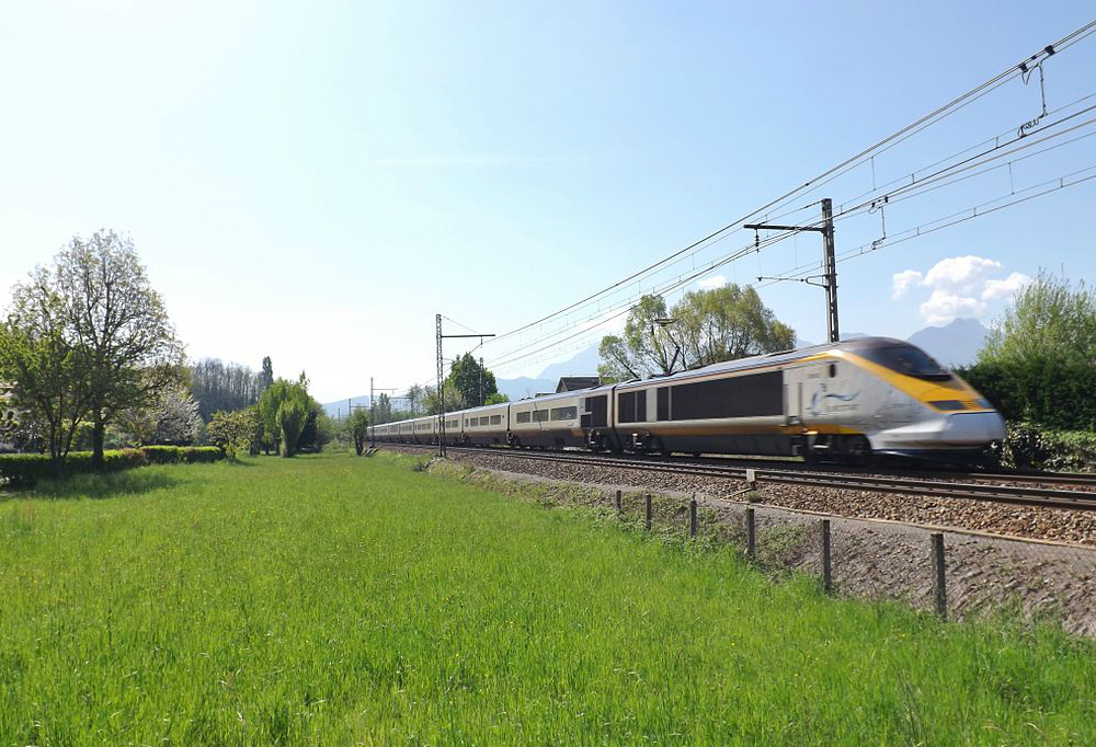 Eurostar coming from Bourg-Saint-Maurice in the French Alps and bound for London (UK)