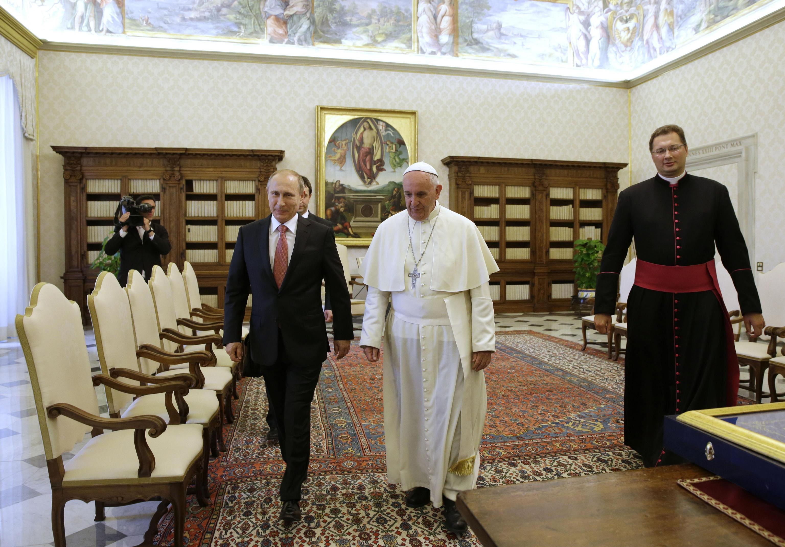 Pope Francis receives the Russian President Vladimir Putin in private audience at the Vatican