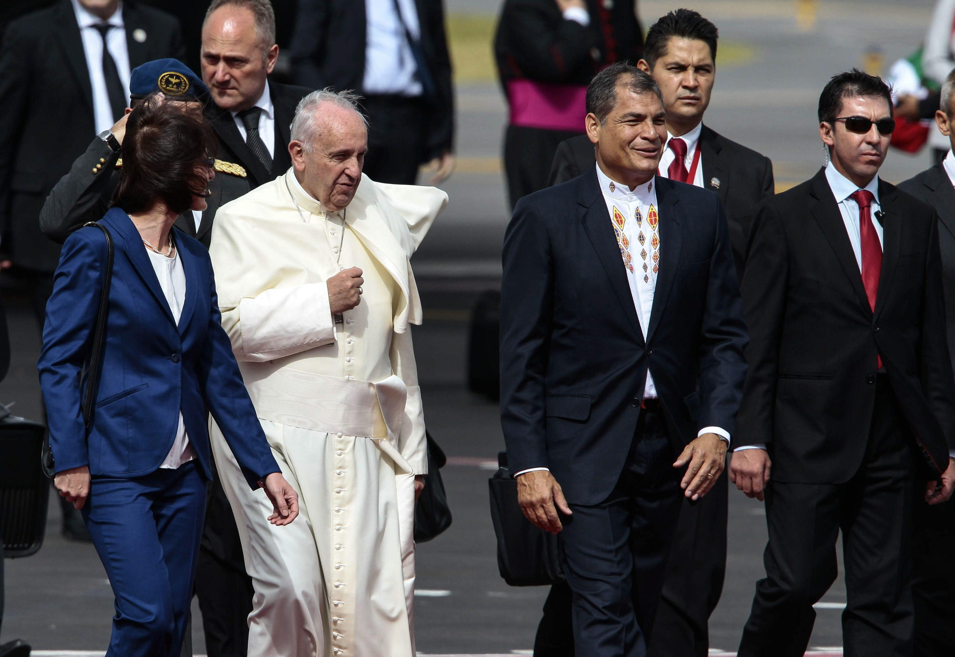 Pope Francis next to Ecuador's President Rafael Correa at his arrival at the International Airport of Quito