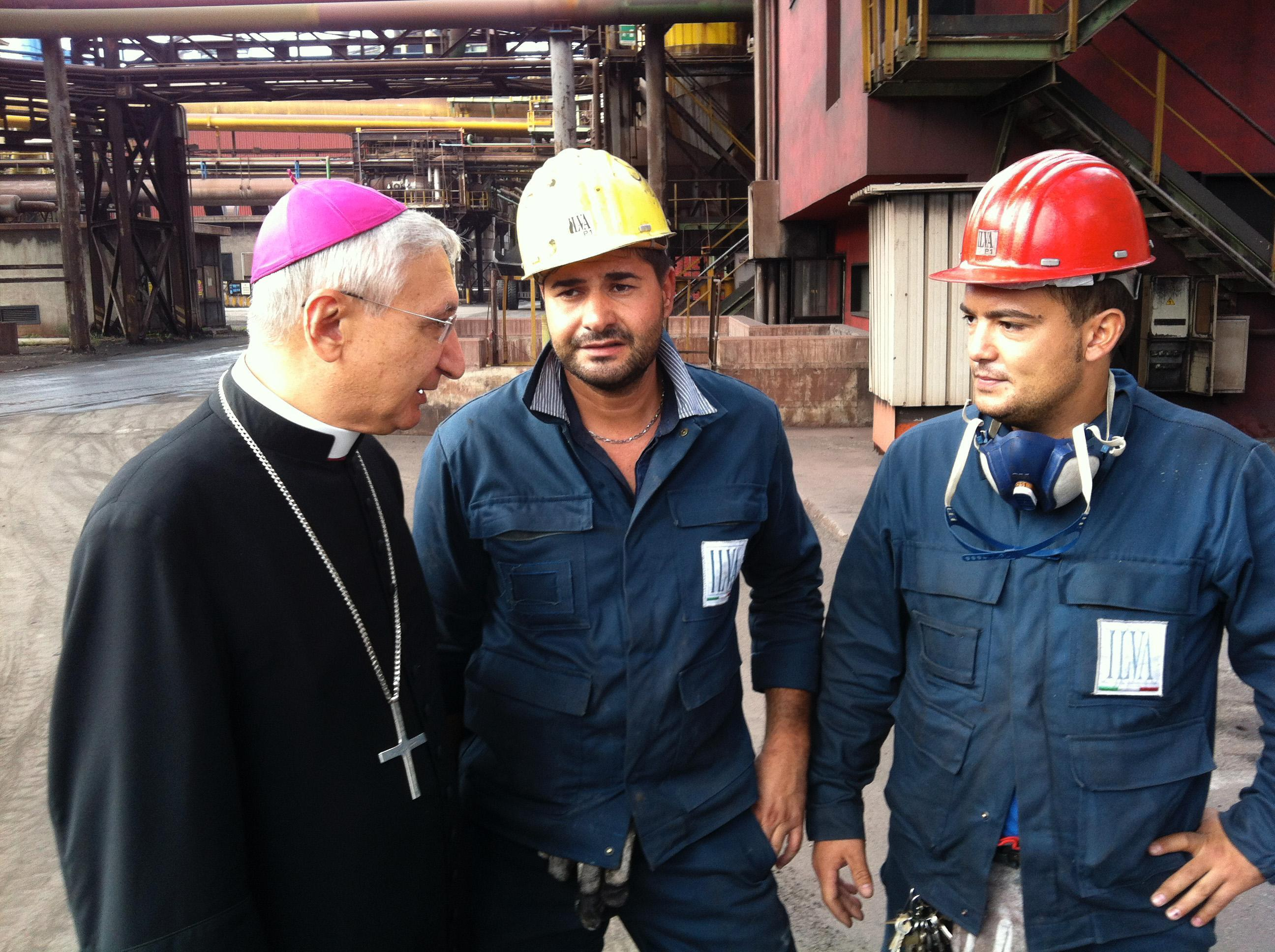 Archbishop Filippo Santoro meets workers of the Ilva steelworks protest