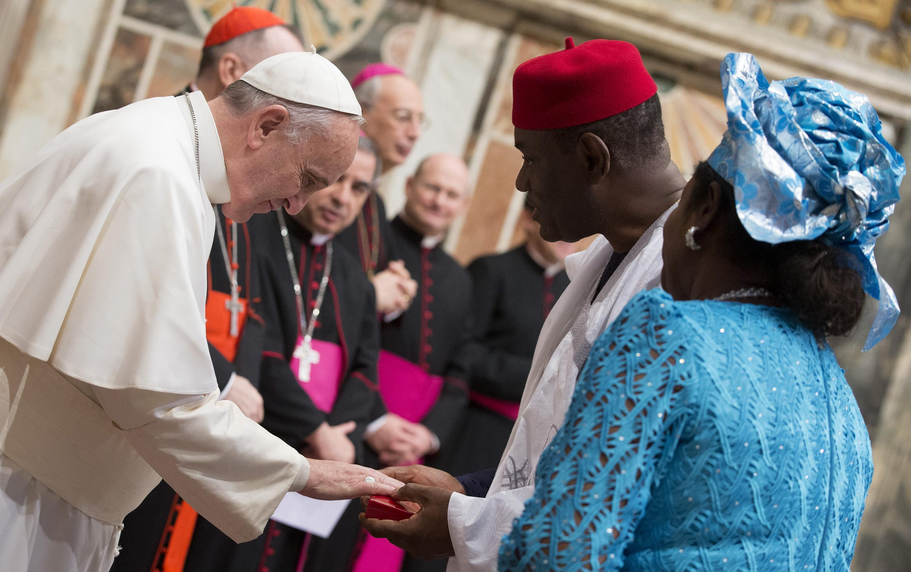Pope Francis as he meets ambassadors to the Holy See in the Vatican