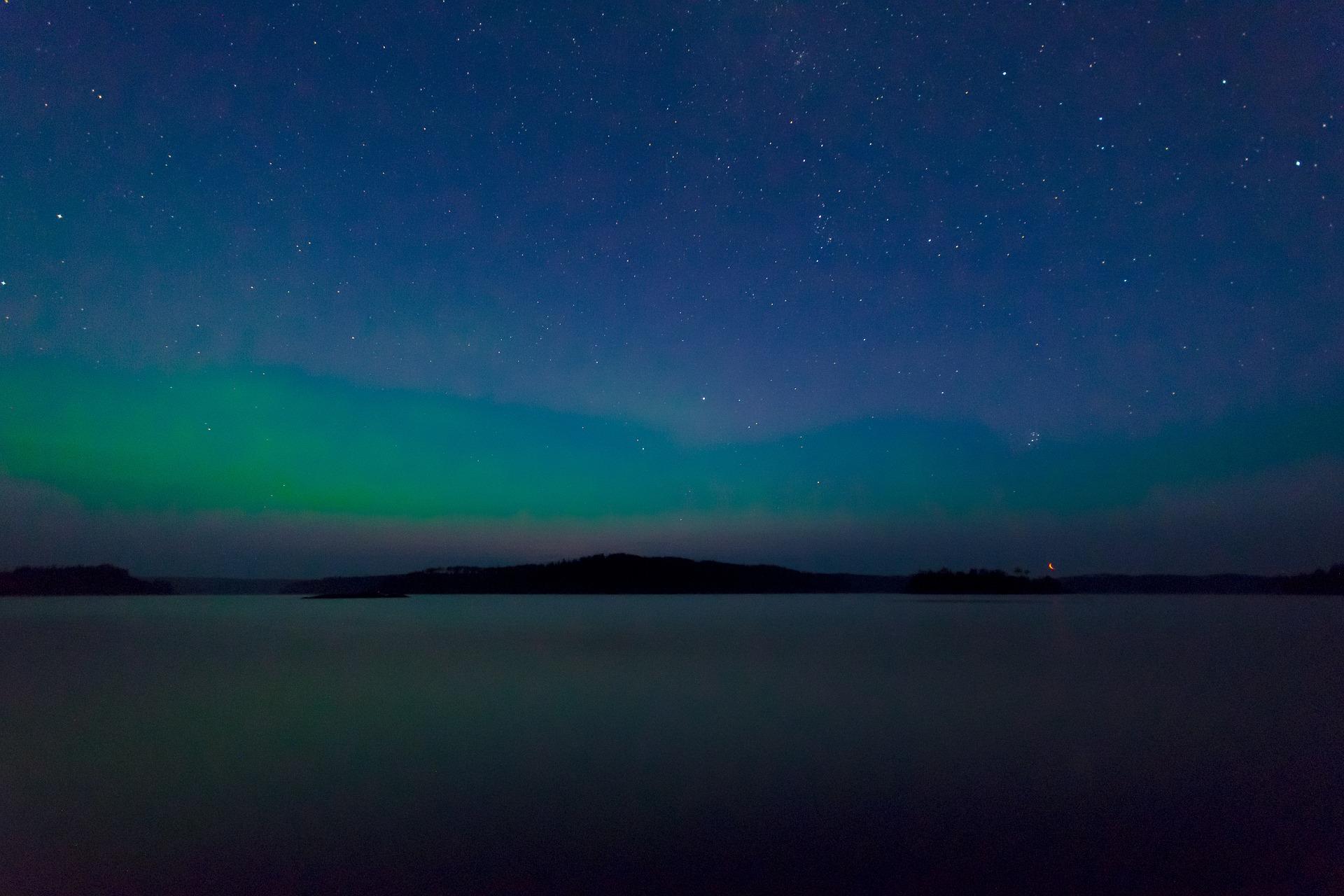 Aurora borealis appear in night's sky