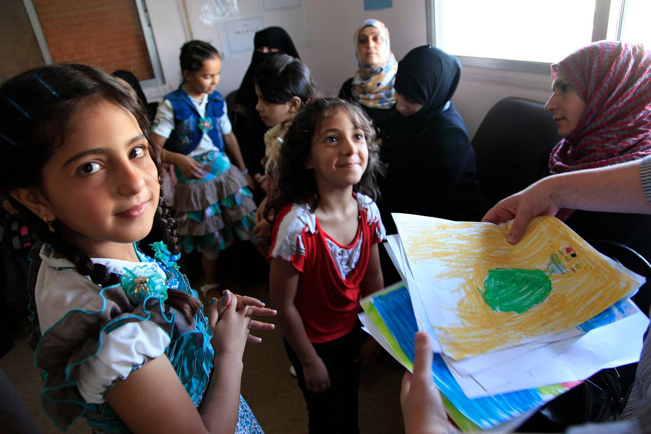 Refugee children from Syria at a clinic in Ramtha