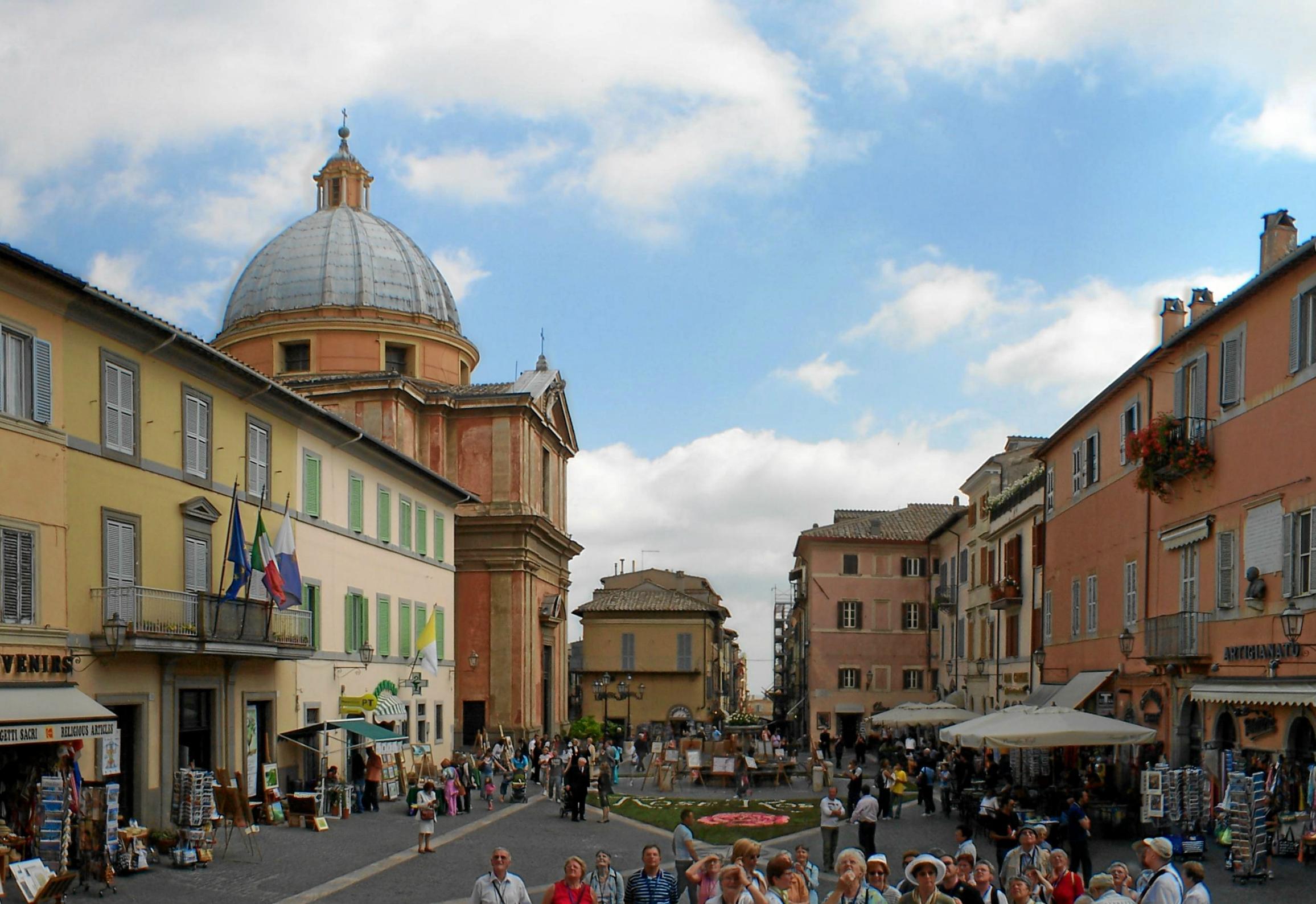 Piazza della Libertà in Castel Gandolfo with the collegiate church of San Tommaso (left)