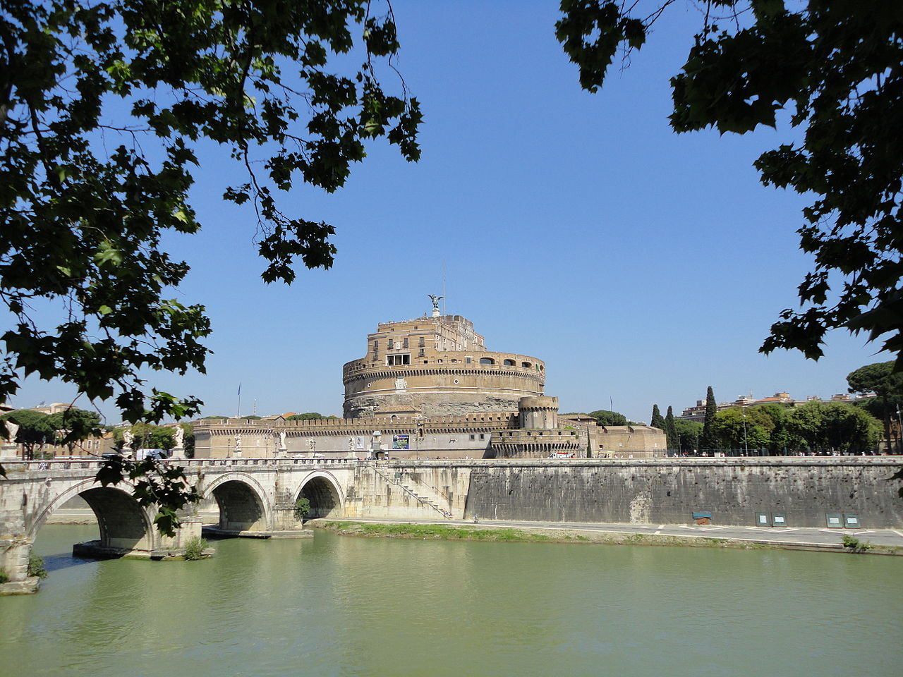 View of Mausoleum of emperor Hadrian or the Castel Sant'Angelo