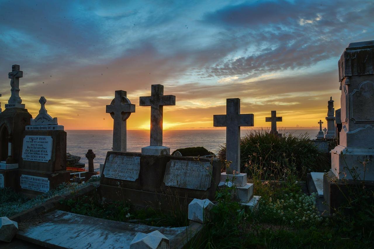 Sunrise over cemetery