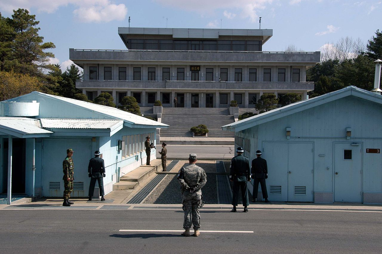 A view from South Korea towards North Korea in the Joint Security Area at Panmunjeom. North and South Korean military personnel