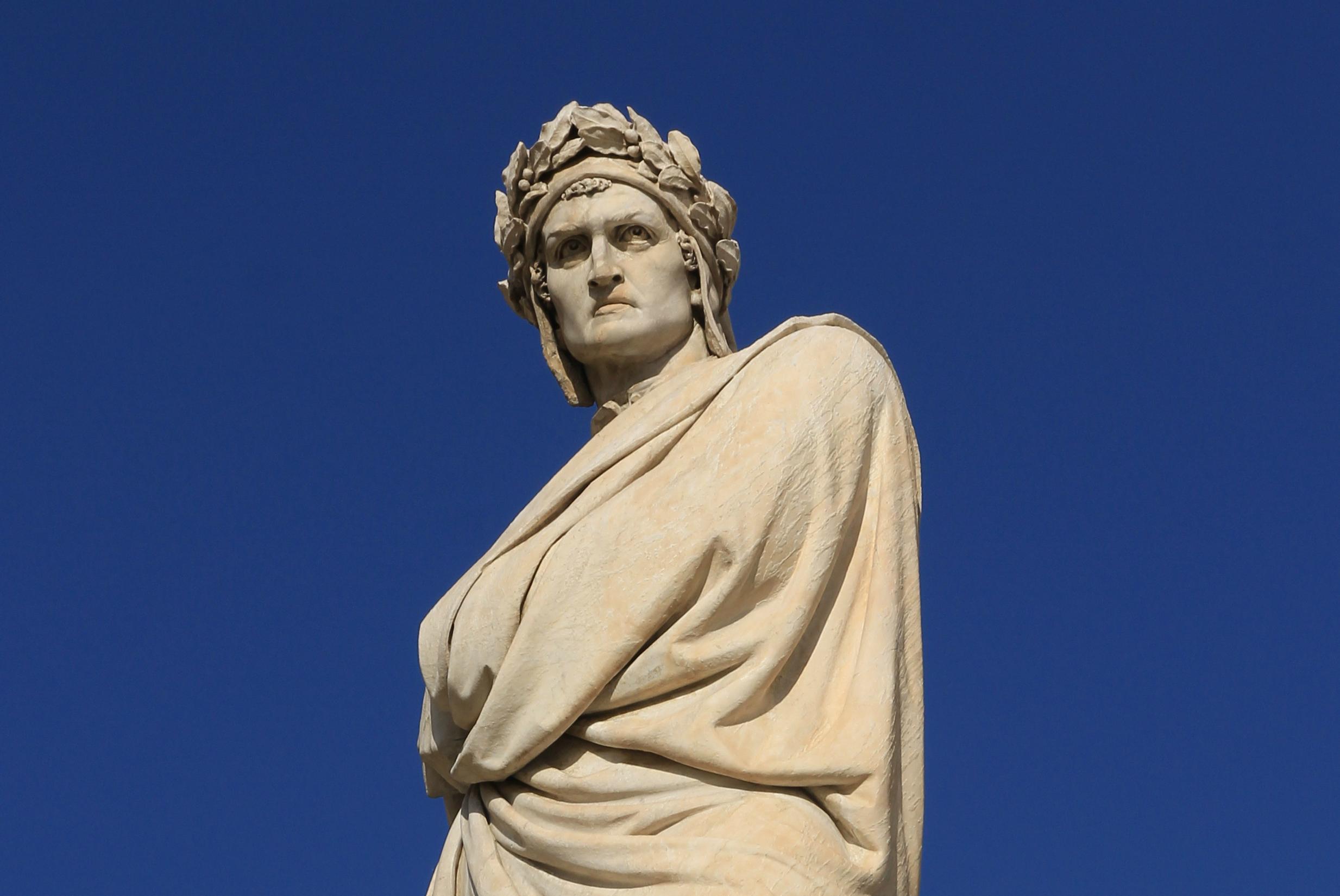 Statue of Dante Alighieri next to Santa Croce church