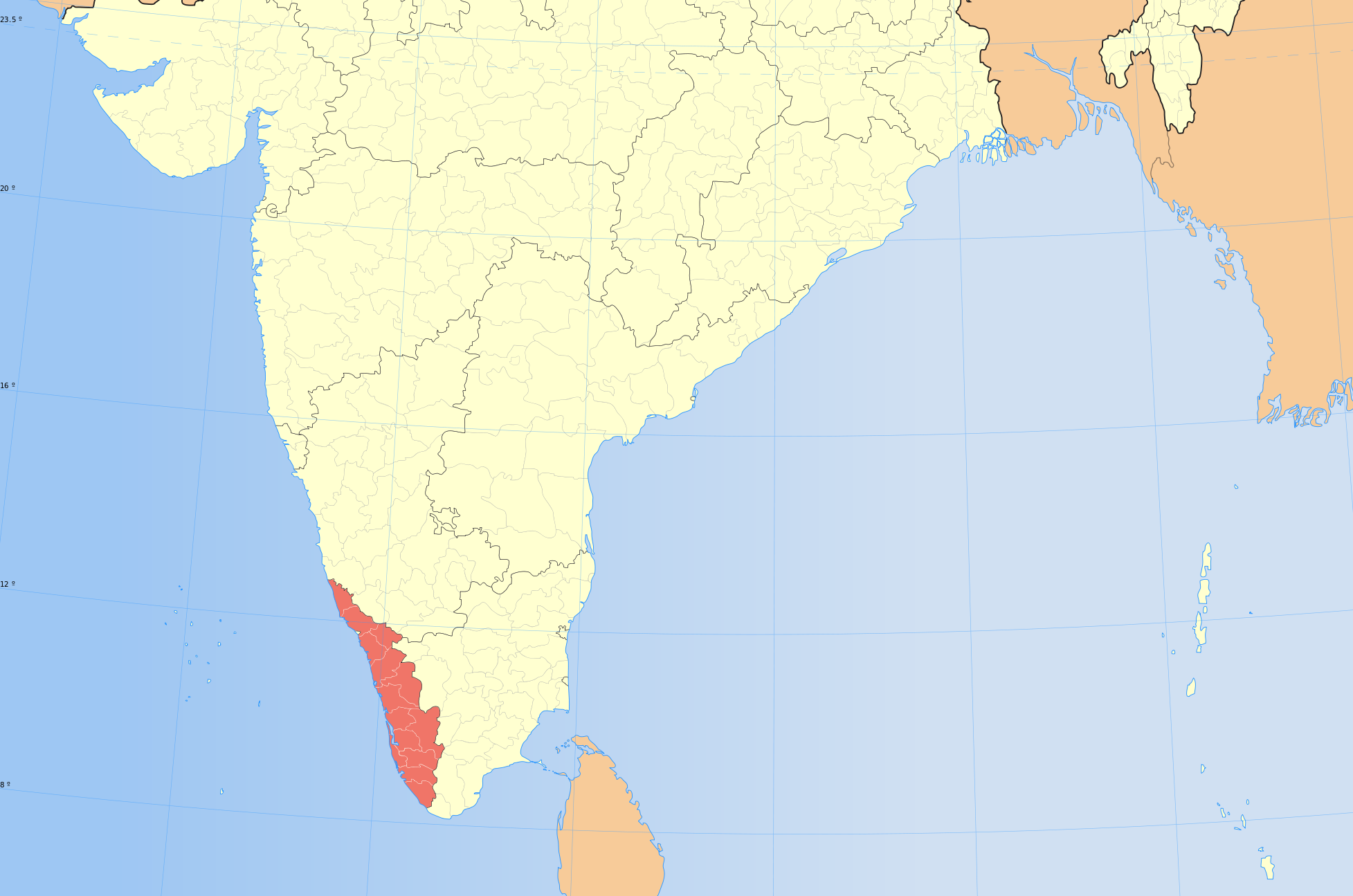 Map of the State of Kerala