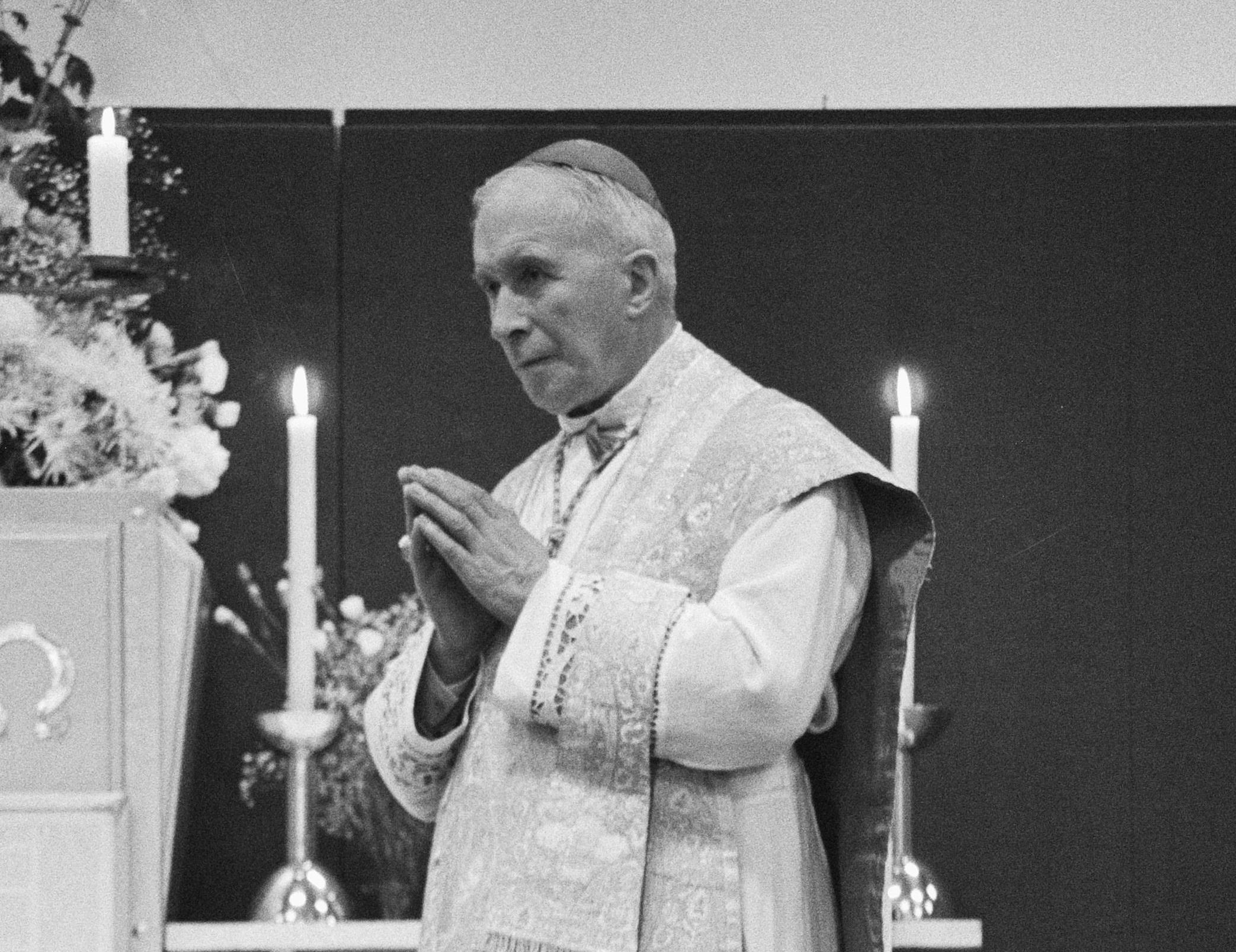 Bishop Marcel Lefebvre (1905 – 1991) celebrating Mass in the Netherlands