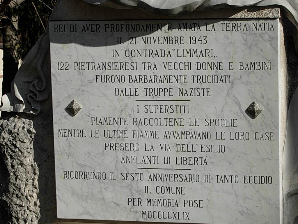 Memorial plaque of the massacre of Pietransieri (Roccaraso
