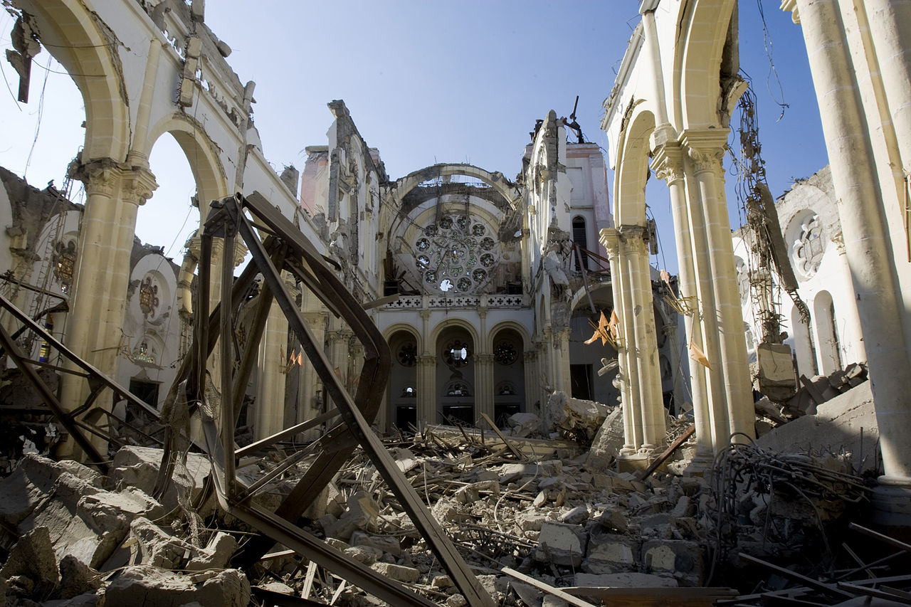 Rubbles of the cathedral after the earthquake that hit the Capital Port au Prince just before 5 pm on 12 January 2010