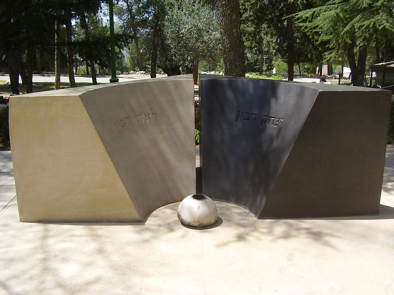 Grave monument of Lea (L) and Yitzhak Rabin (R)