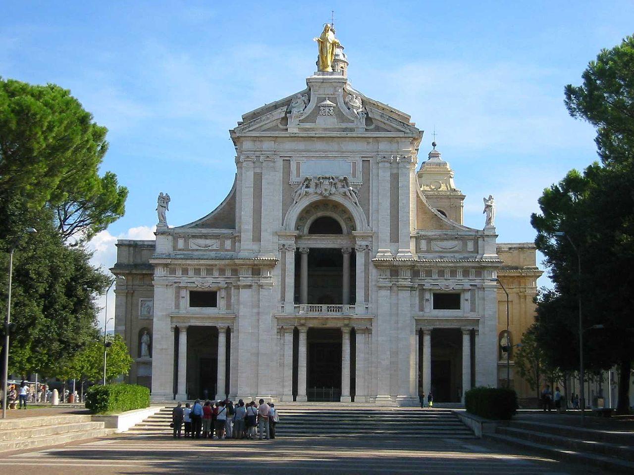 Basilica Santa Maria degli Angeli near Assisi. The front