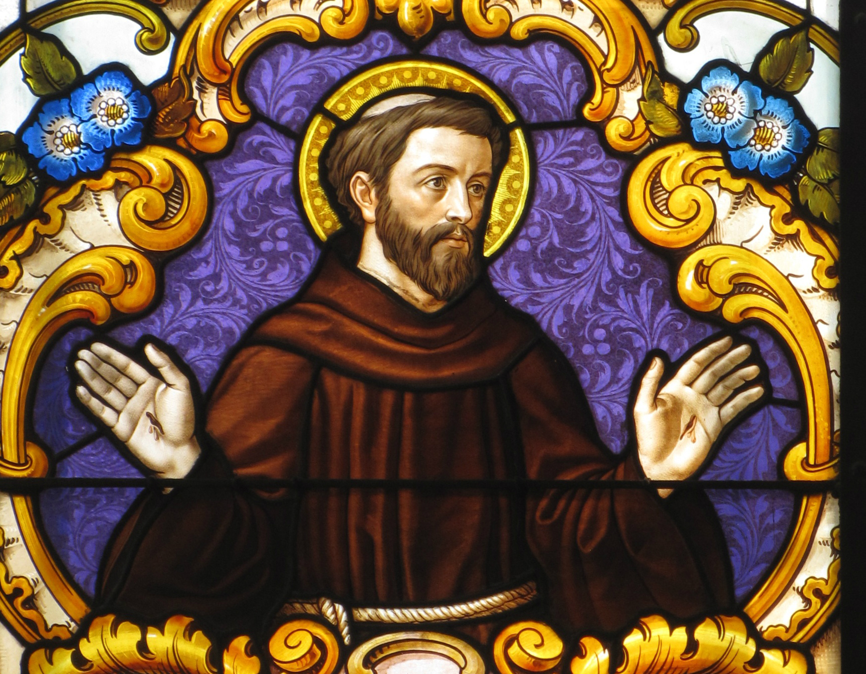 Saint Francis with the stigmata. Stained glass window in Kyjov