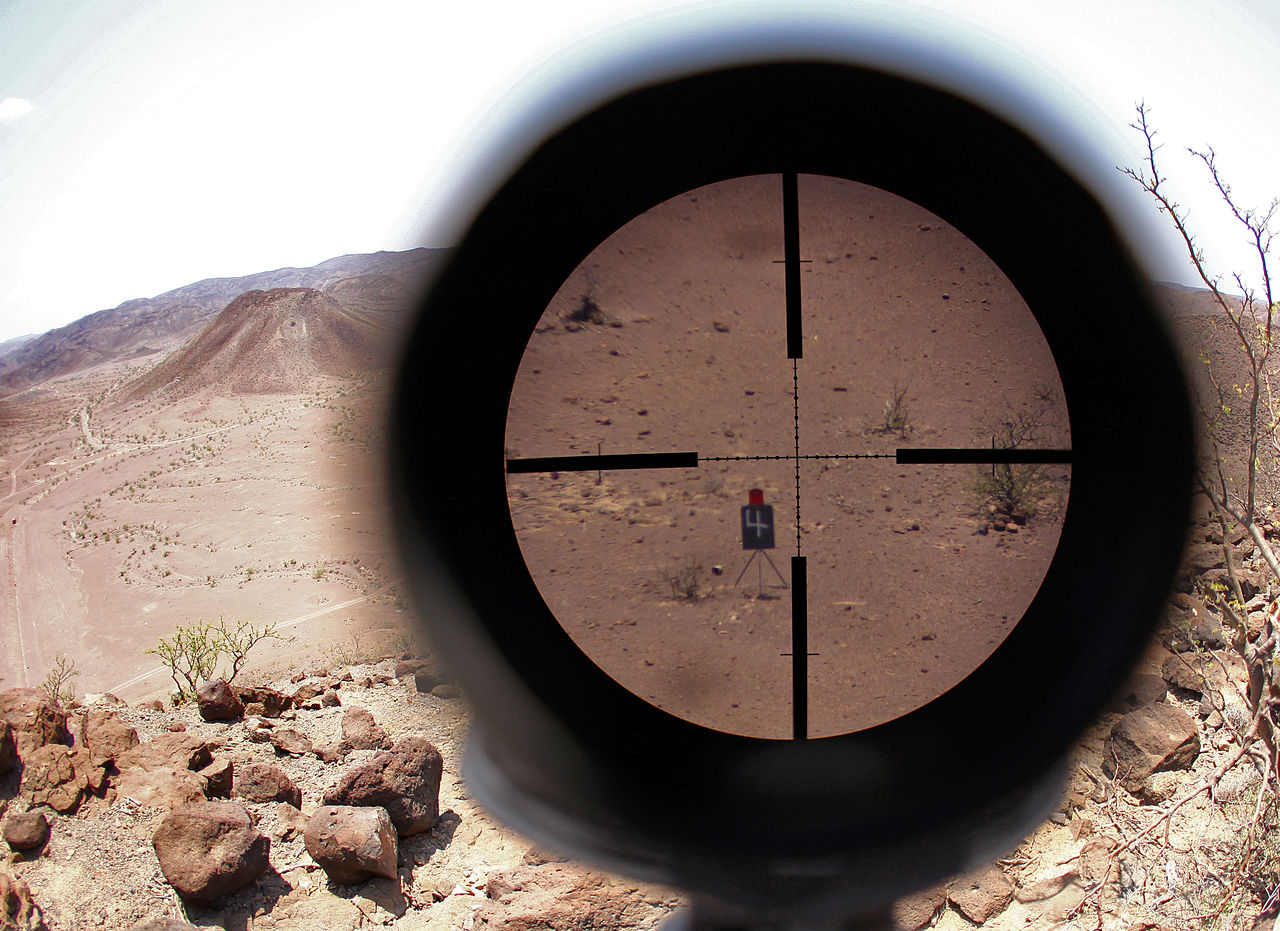 US Marine telescopic sight picture during high-angle marksmanship training in Djibouti