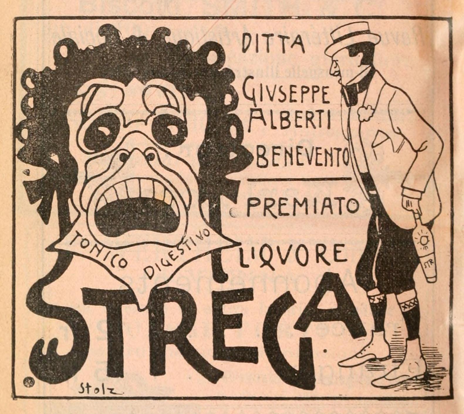 Advert for Strega liqueur printed in Matilde Serao