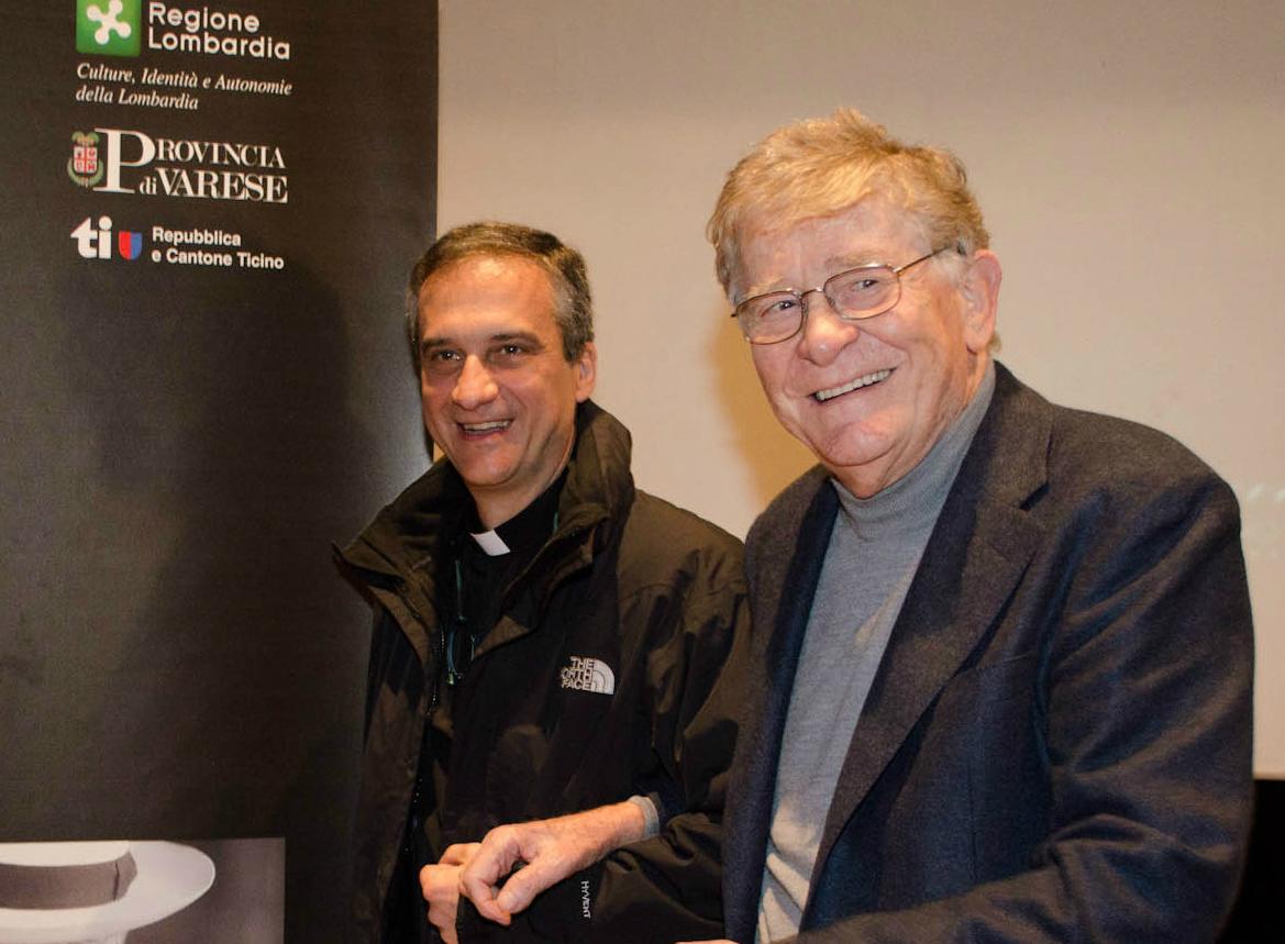 Mgr. Dario Edoardo Viganò (L) and the italian film director Ermanno Olmi at the Premio Chiara 2013