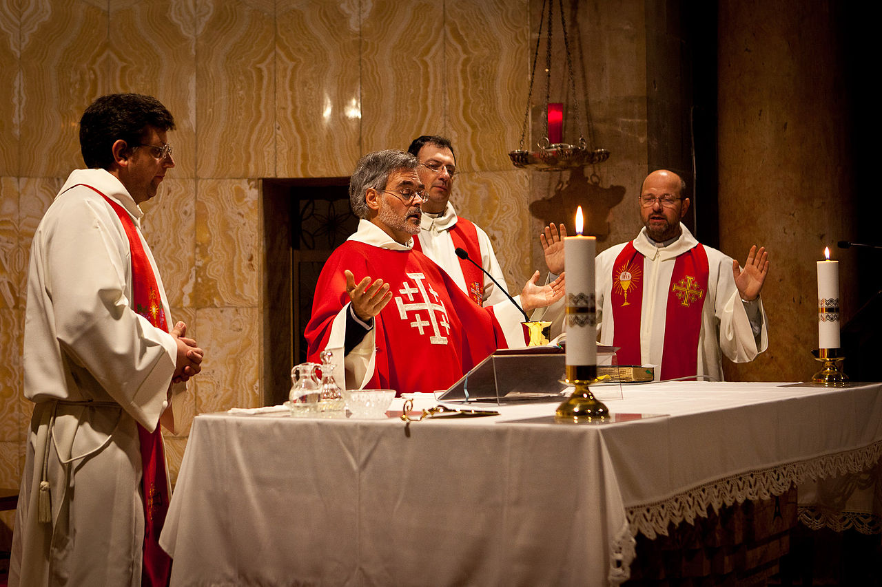 A concelebration or the practice of priests saying Mass collectively in the Latin Rite