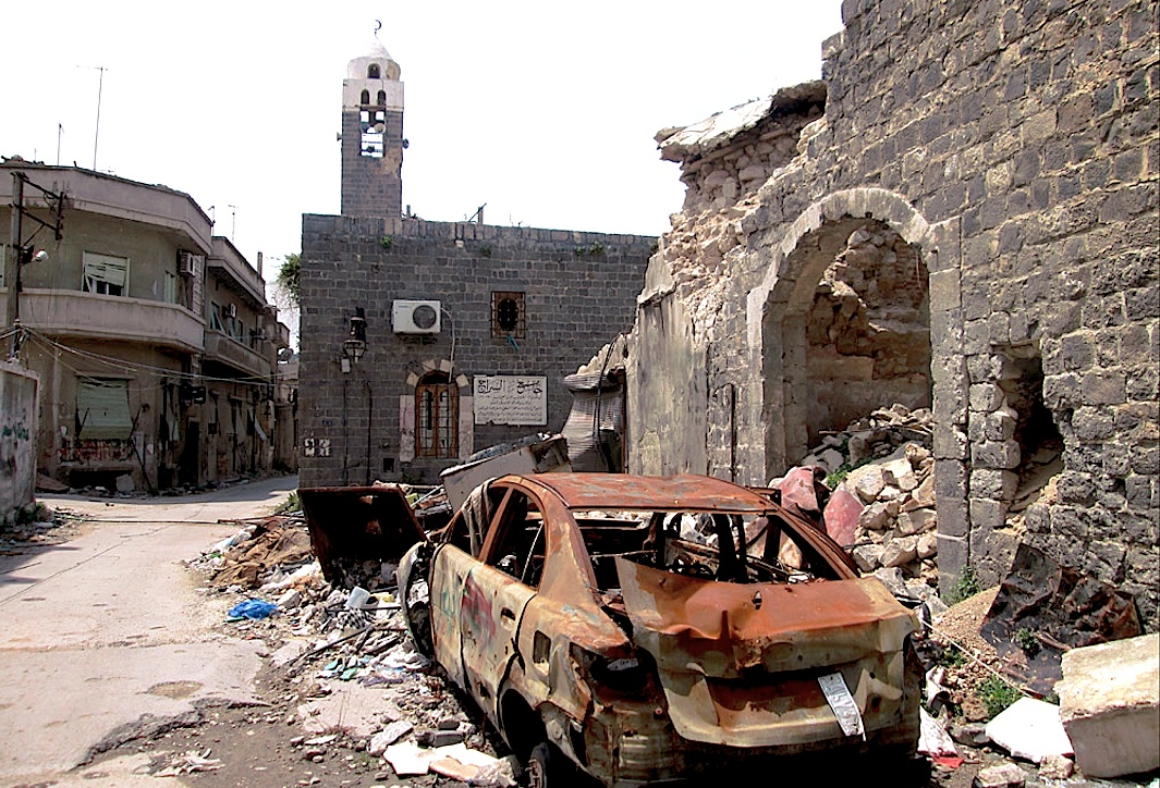 Destroyed buildings in Homs